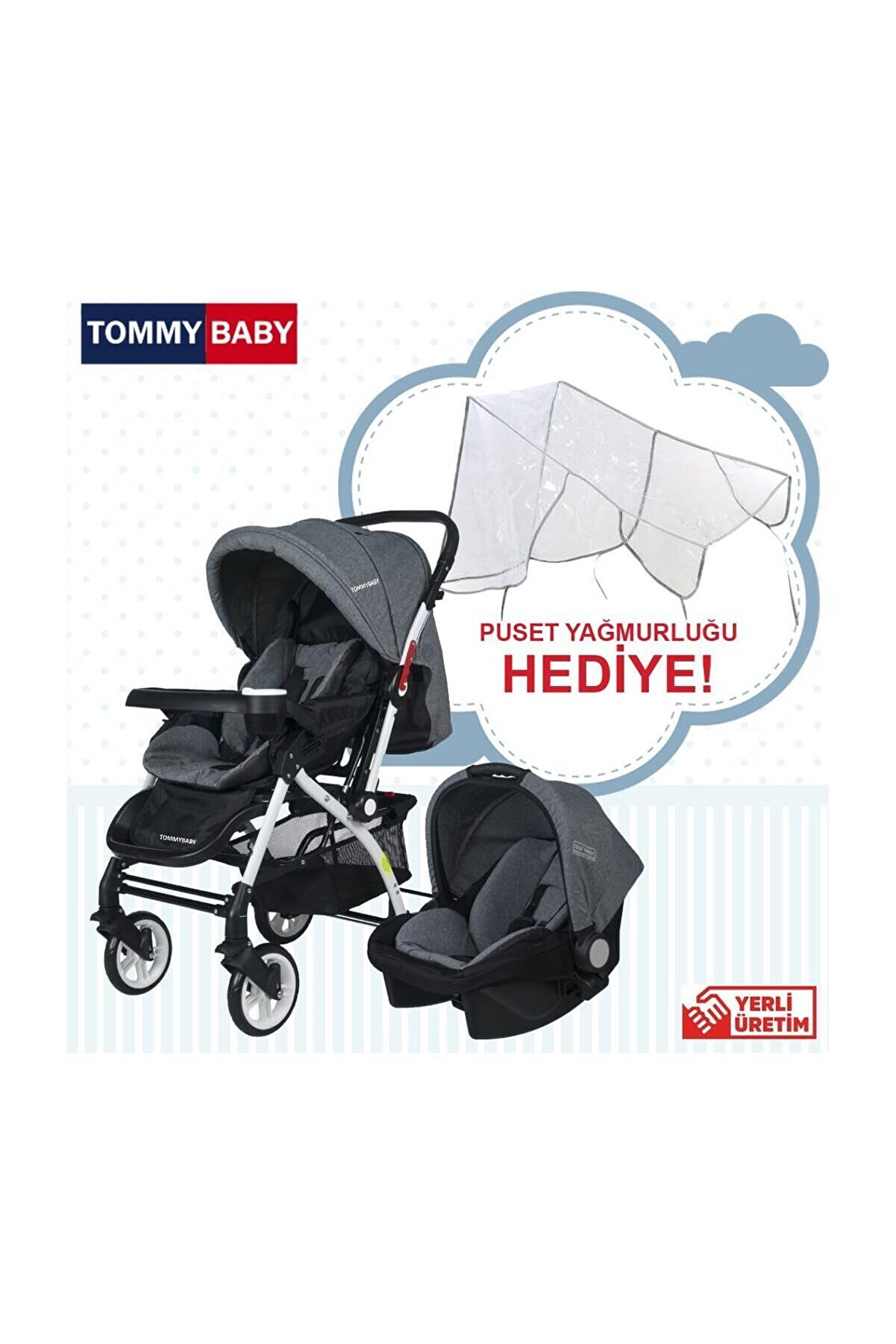 Tommybaby Eagle Travel Seyahat Sistem Çift Yönlü Bebek Arabası Puset
