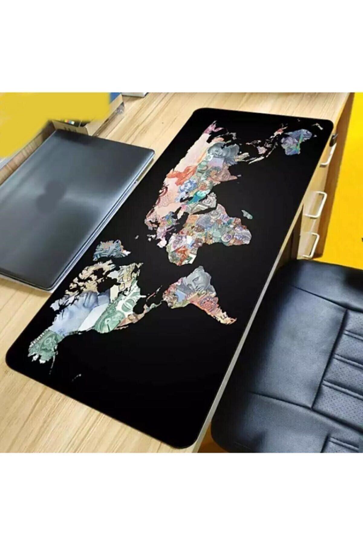 M90 Dünya Liderleri Baskılı World Map Gaming Mausepad 90x40 Cm