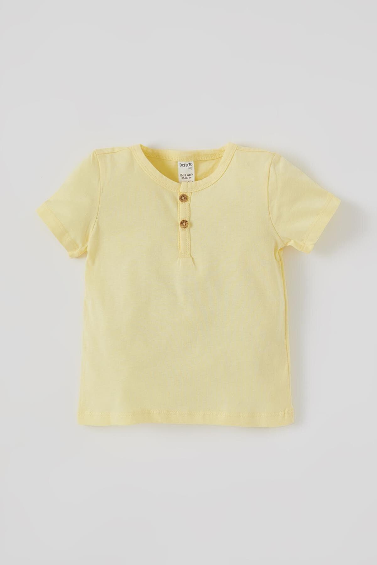 Defacto Unisex Düğmeli Kısa Kollu Pamuklu Tişört