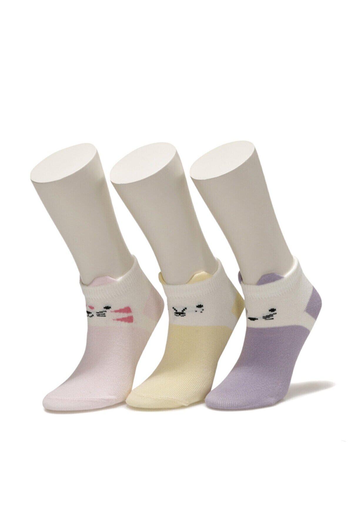 Icool CUTEST ANIMAL 3 LU PTK-G Çok Renkli Kız Çocuk Çorap 100691812