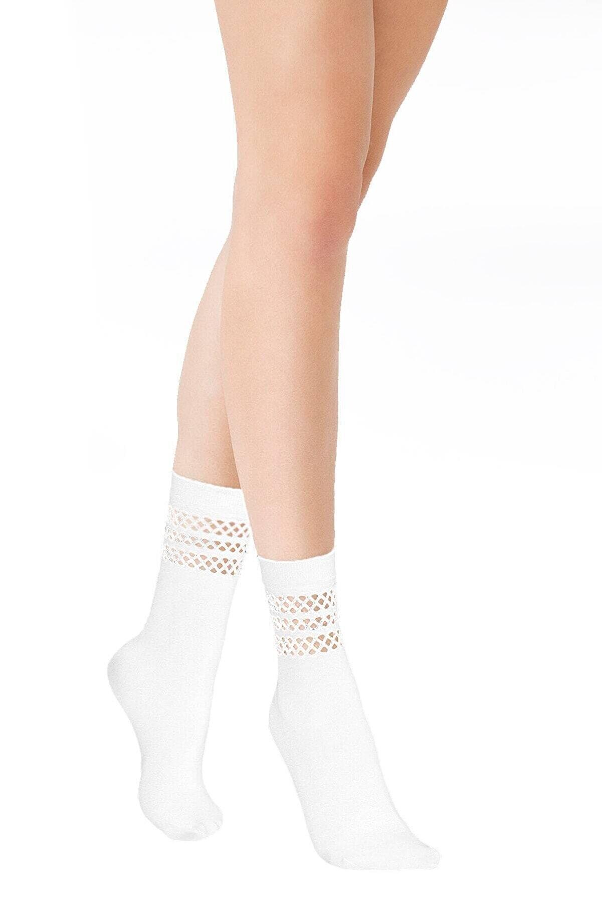EMINNA Kadın Beyaz File Soket Çorap