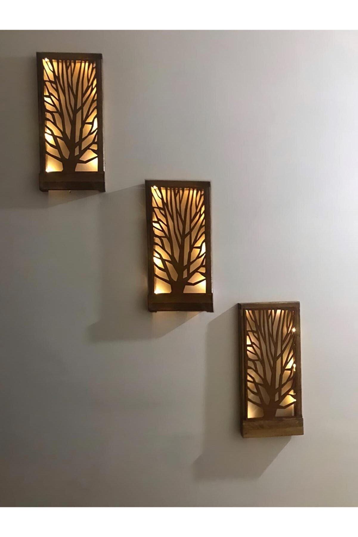 MSAĞWOODS 3 Lü Set Pilli Peri Ledli Ağaç Desenli Masifpanel Çerçeve Tablo Hol Duvar Süsü Ev Hediyesi 36x18