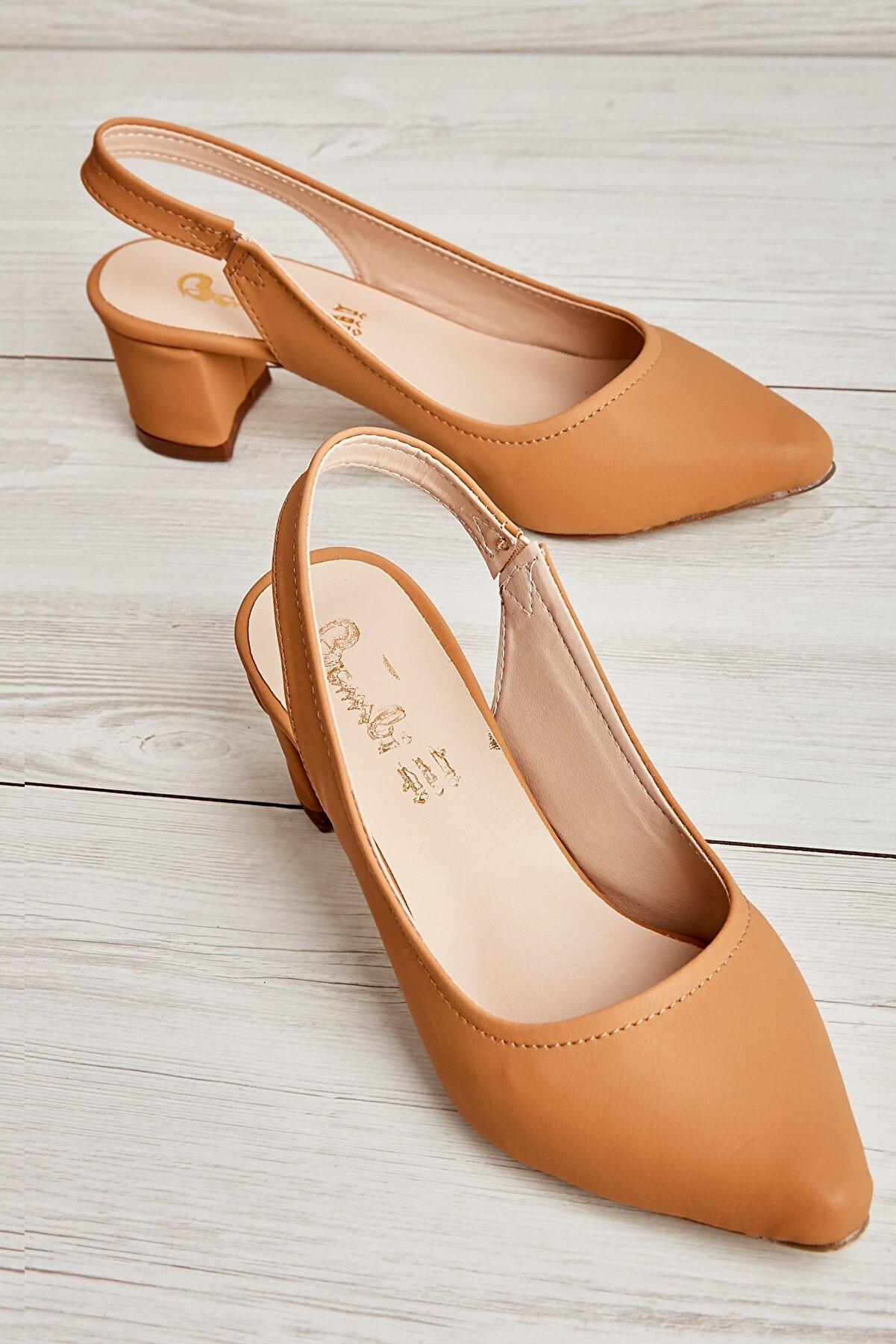 Bambi Camel Nubuk Kadın Klasik Topuklu Ayakkabı K01503721071