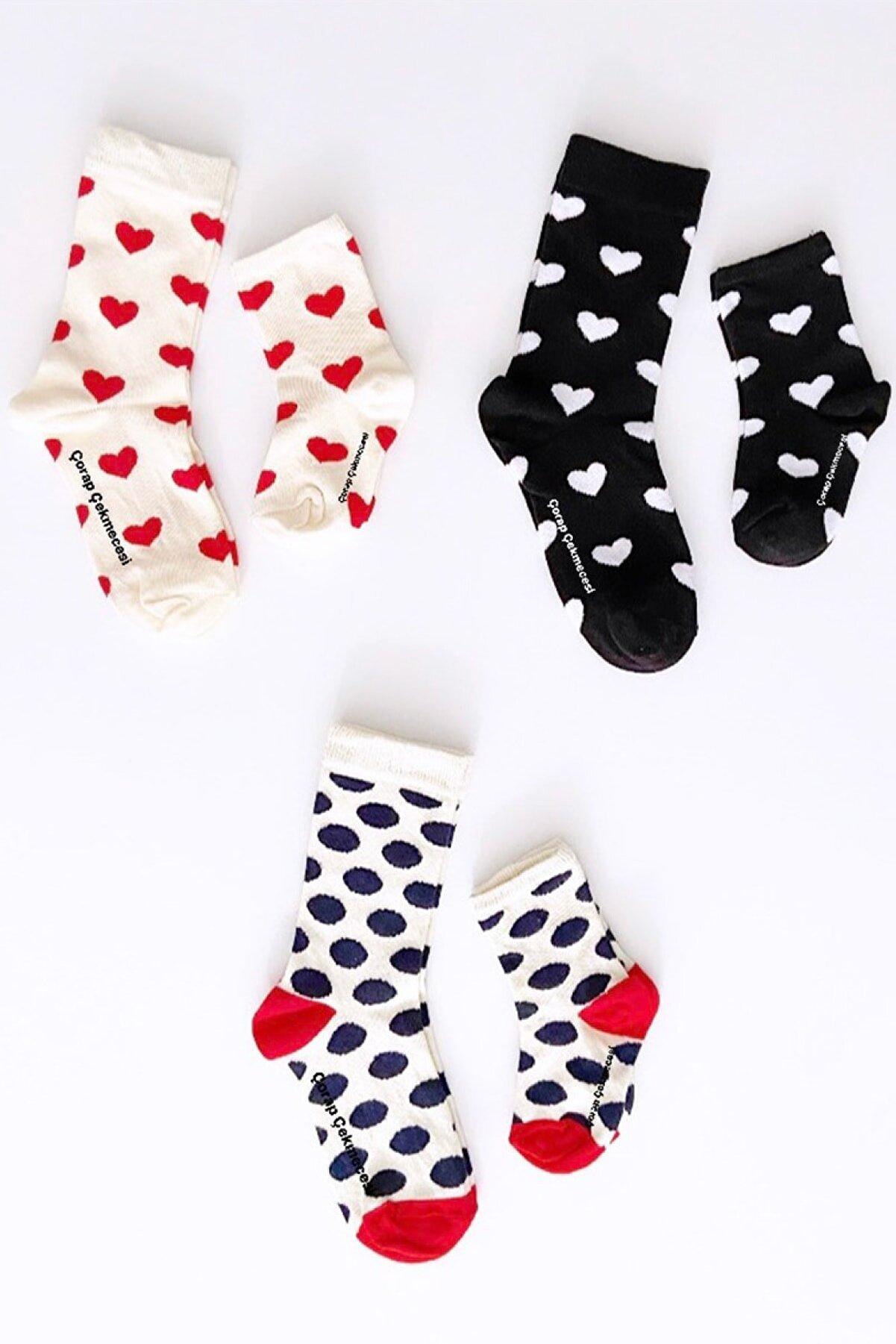 Çorap Çekmecesi 3'lü Anne Bebek Çorap Kombini Kalp Ekru&siyah-puantiye Ekru