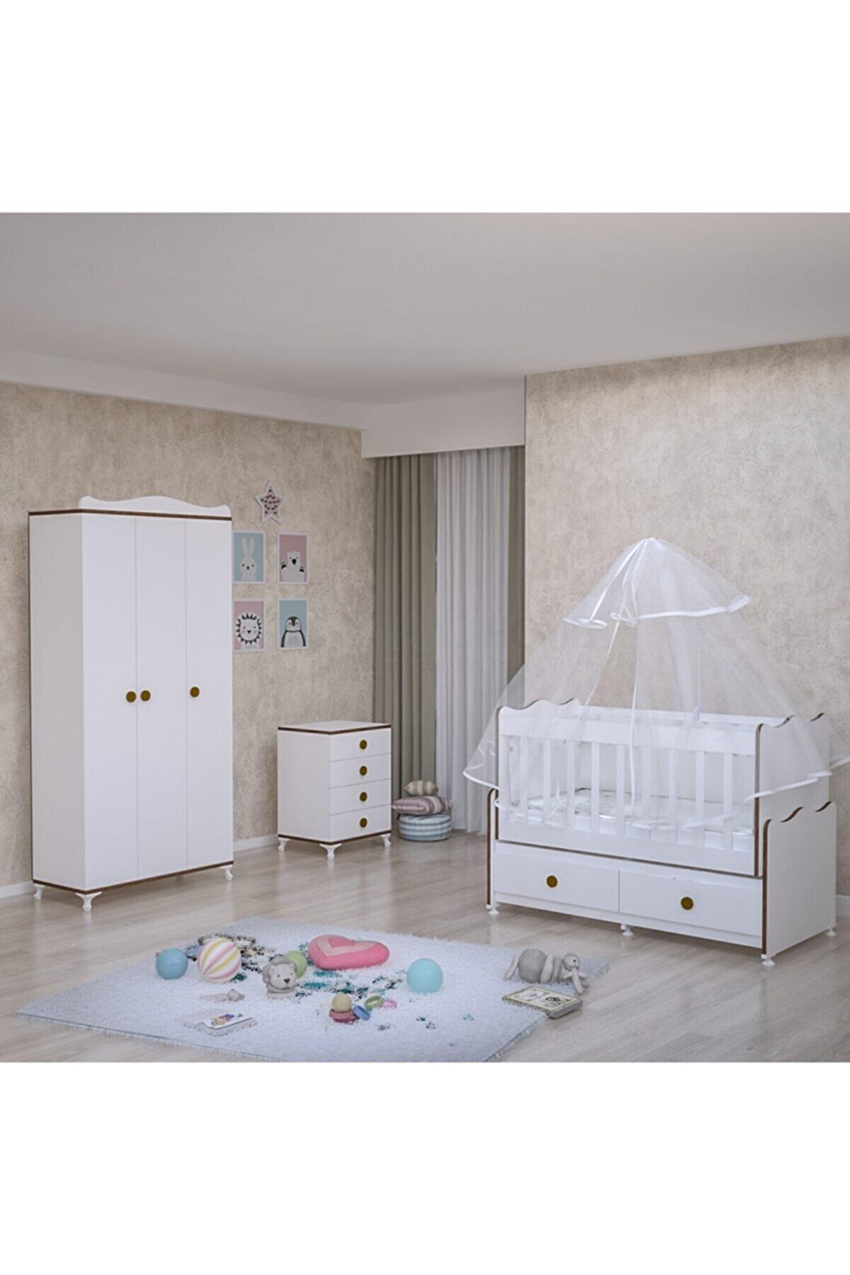Garaj Home Elegant Yıldız 3 Kapaklı Bebek Odası Takımı - Yatak Ve Uyku Seti Kombinli-sümela