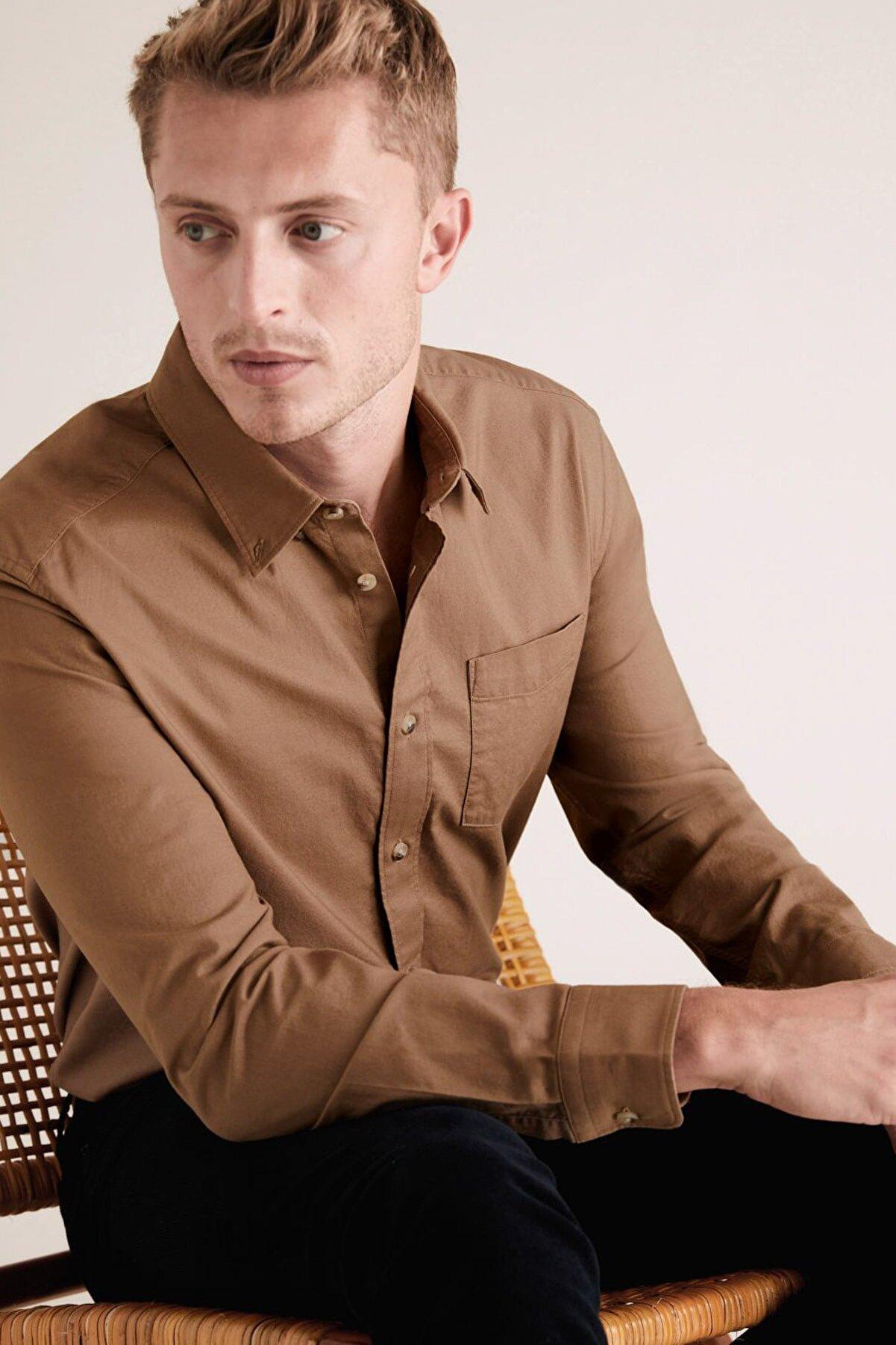 Marks & Spencer Erkek Krem Saf Pamuklu Oxford Gömlek