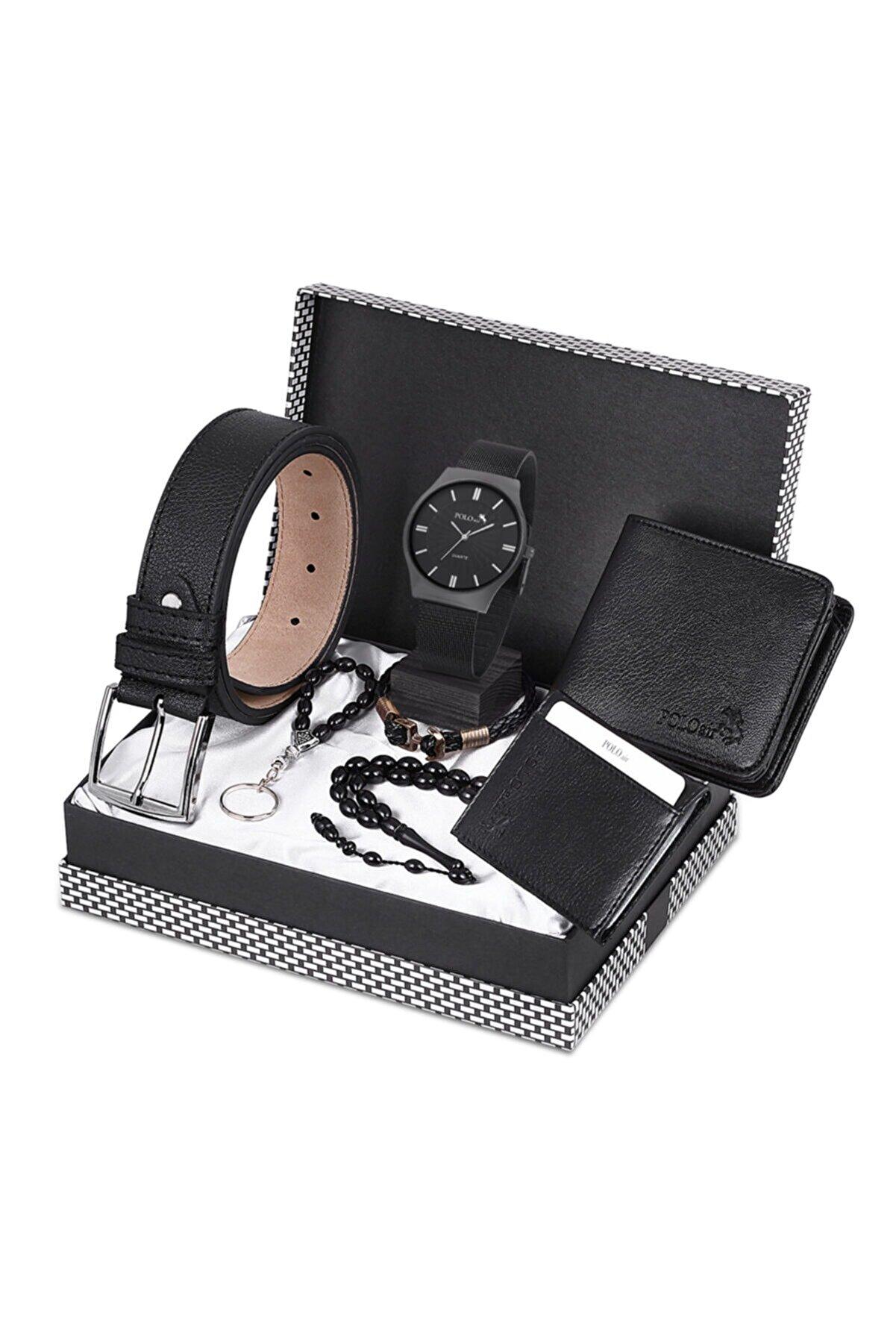 polo air Erkek Set Kol Saati +Kemer+ Cüzdan +Kartlık +Tesbih +Anahtarlık Seti