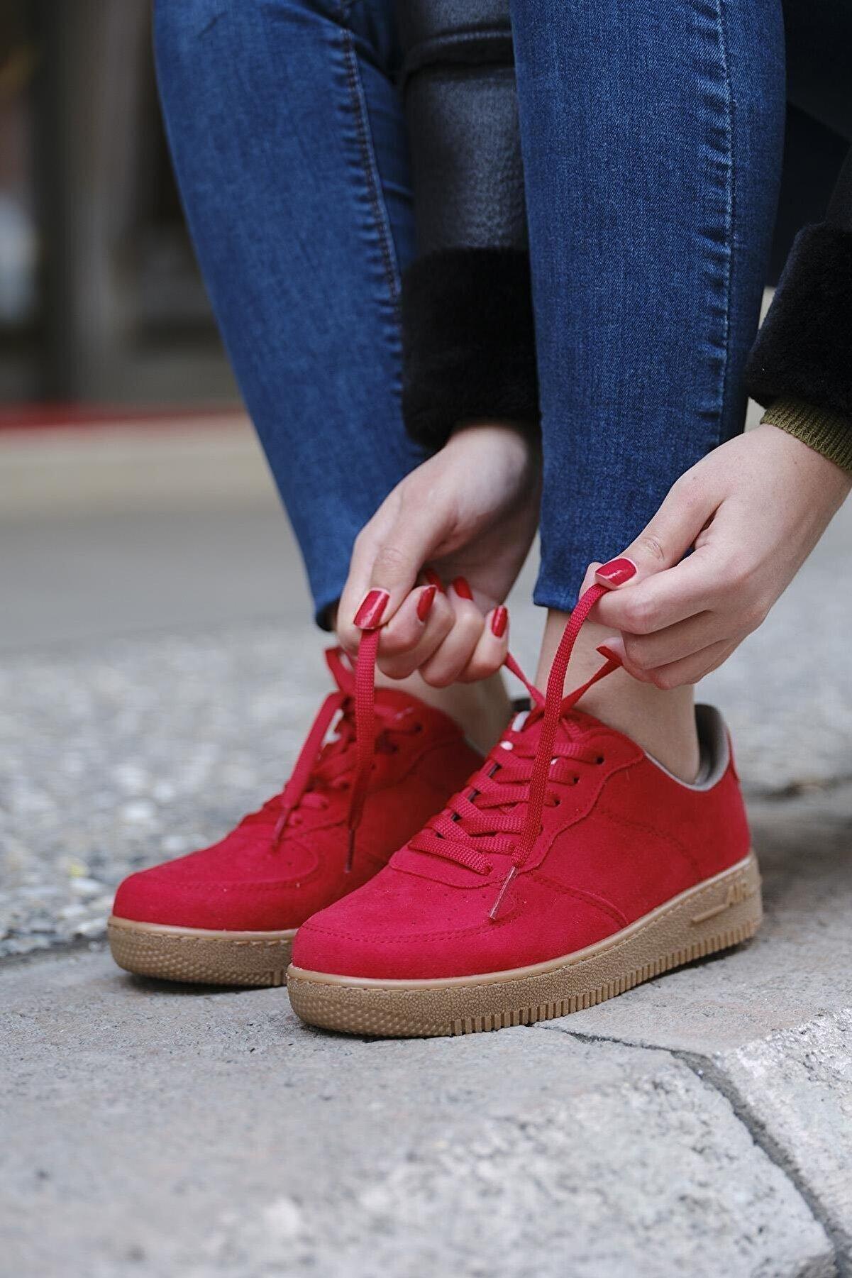 DARKLOW Unisex Kırmızı Air Garson Süet Sneaker Günlük Bağcıklı Spor Ayakkabı
