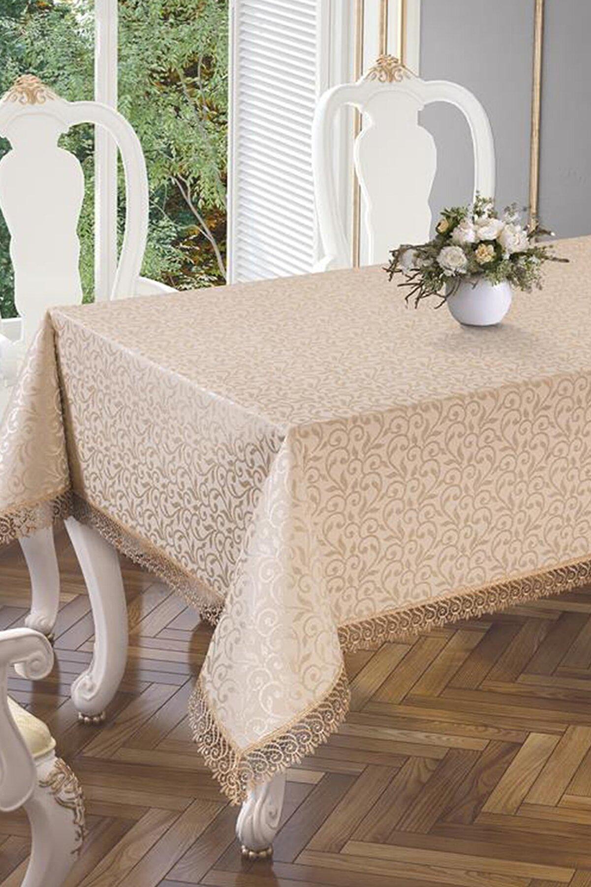 Çeyiz Diyarı Kdk Dertsiz Es Güpürlü Masa Örtüsü - Cappucino