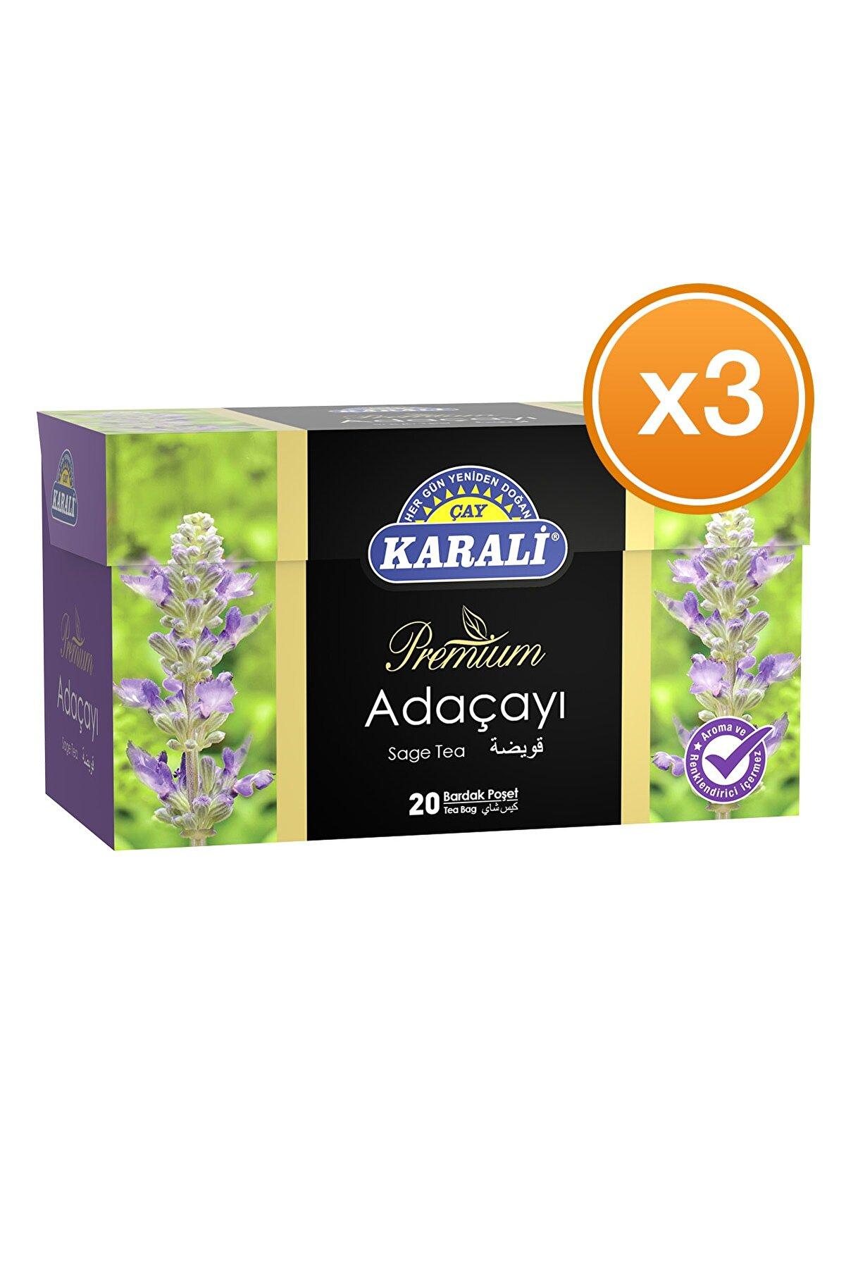 Karali Çay Karali Bardak Poşet Bitki Çayı Adaçayı 20'li X 3 Adet