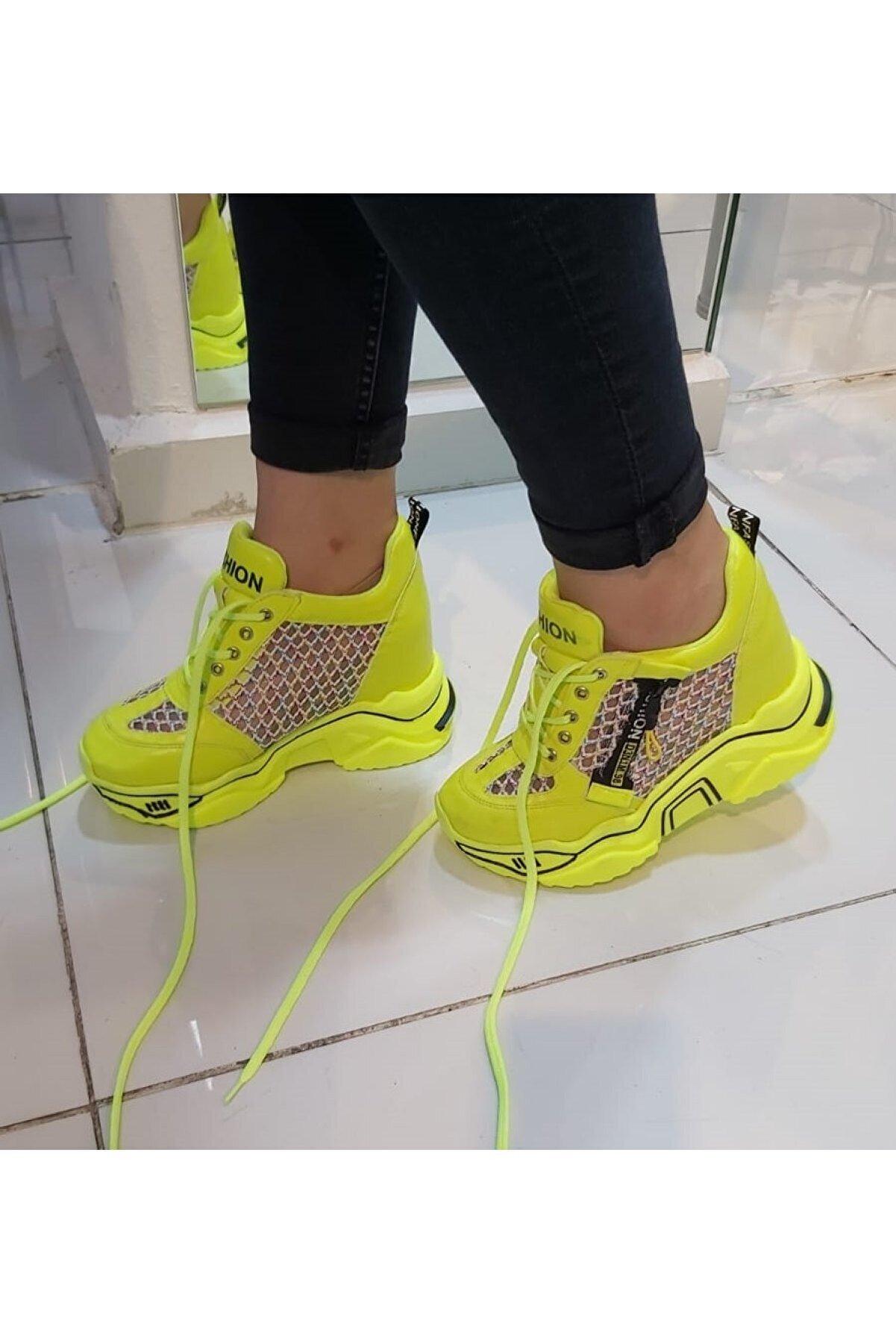 CassidoShoes Anatomik Dolgu Taban Neon Sarı Kadın Spor Ayakkabı
