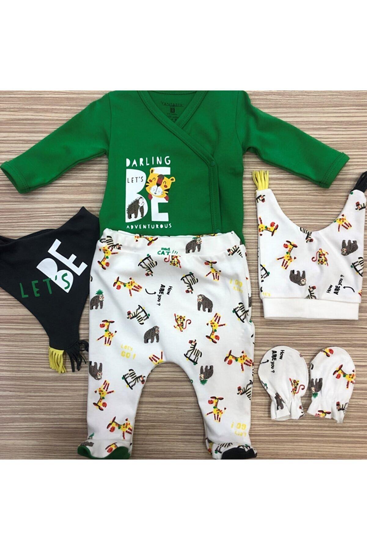 Fantastic Baby Erkek Bebek Yeşil Yenidoğan 5 Parça Hastane Çıkışı