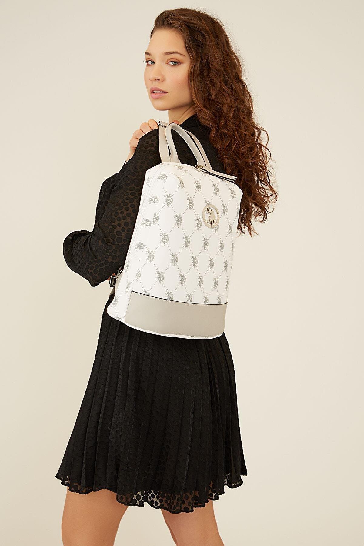US Polo Assn Kadın Beyaz Sırt Çantası Us8705