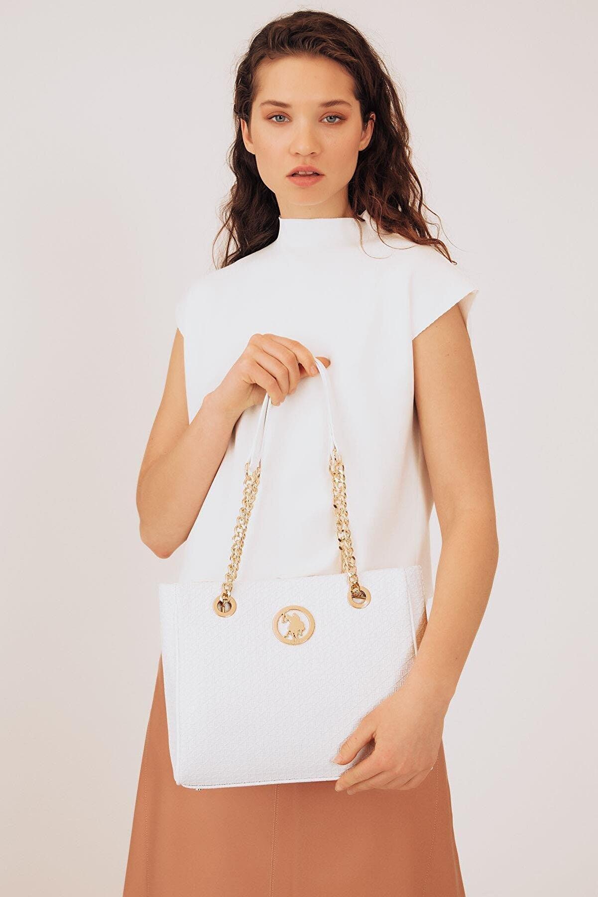 US Polo Assn Kadın  Beyaz Omuz Çantası Us8706
