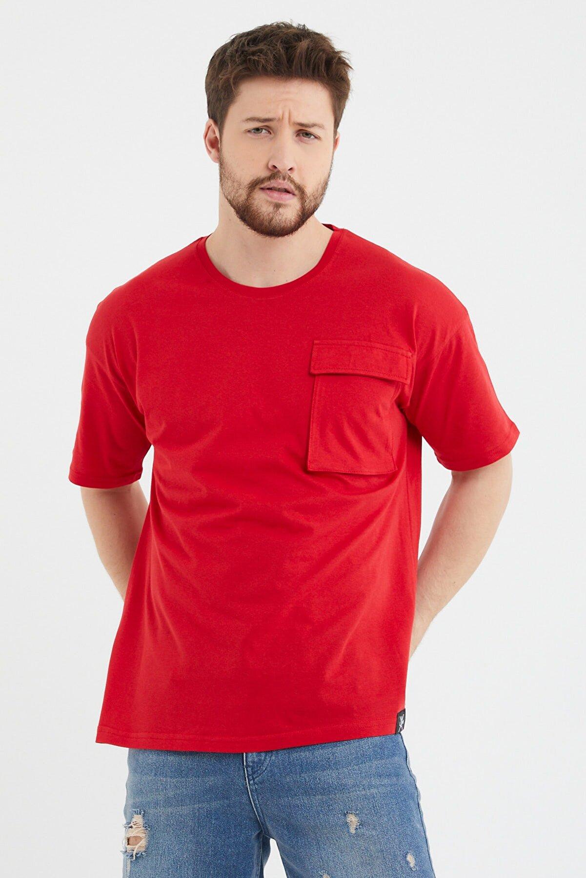 Cocers Erkek Kırmızı Oversize Körük Cepli T-shirt
