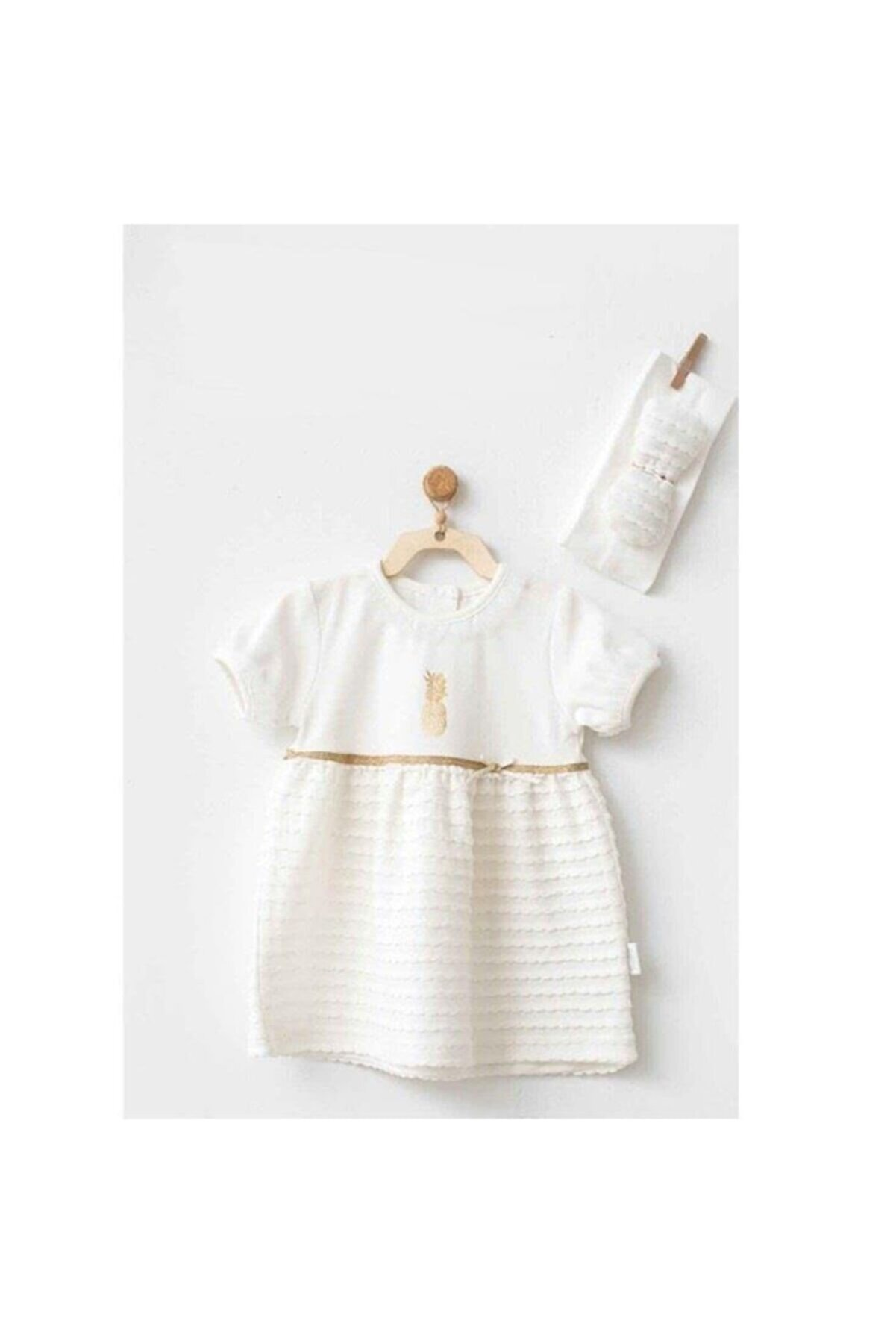 Andy Wawa Kız Bebek Ekru Elbise ve Bandana 2'li Set