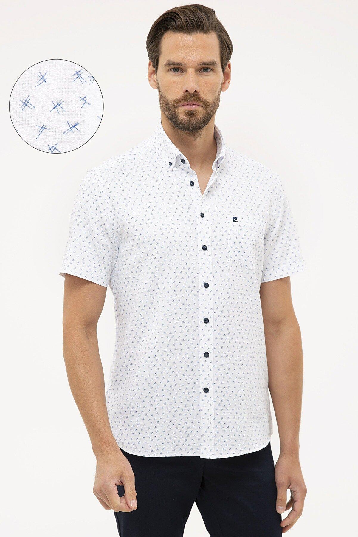 Pierre Cardin Lacivert Regular Fit Kısa Kollu Gömlek