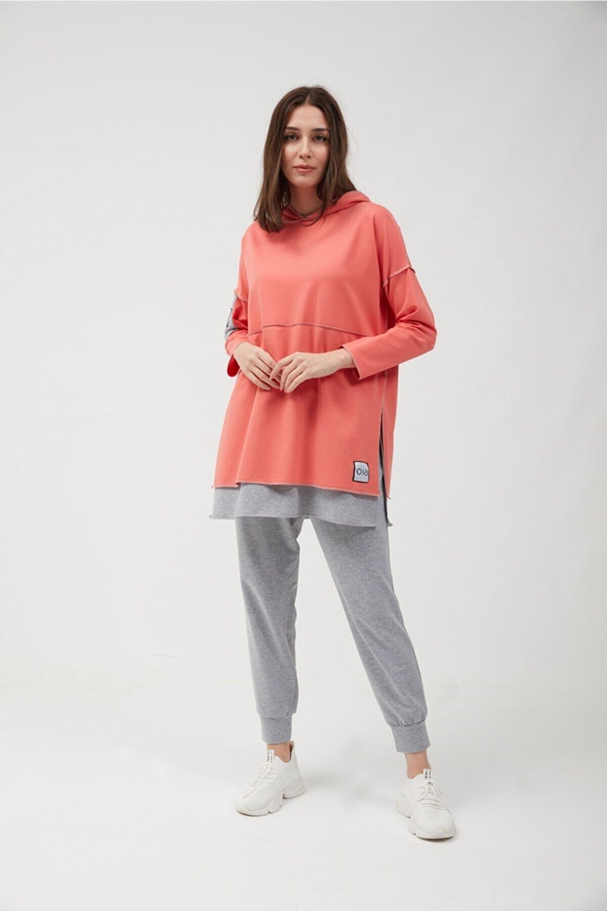 oia Kadın  Karides Pamuklu Tunik Pantolon Takım Eşofman Takım W-0900