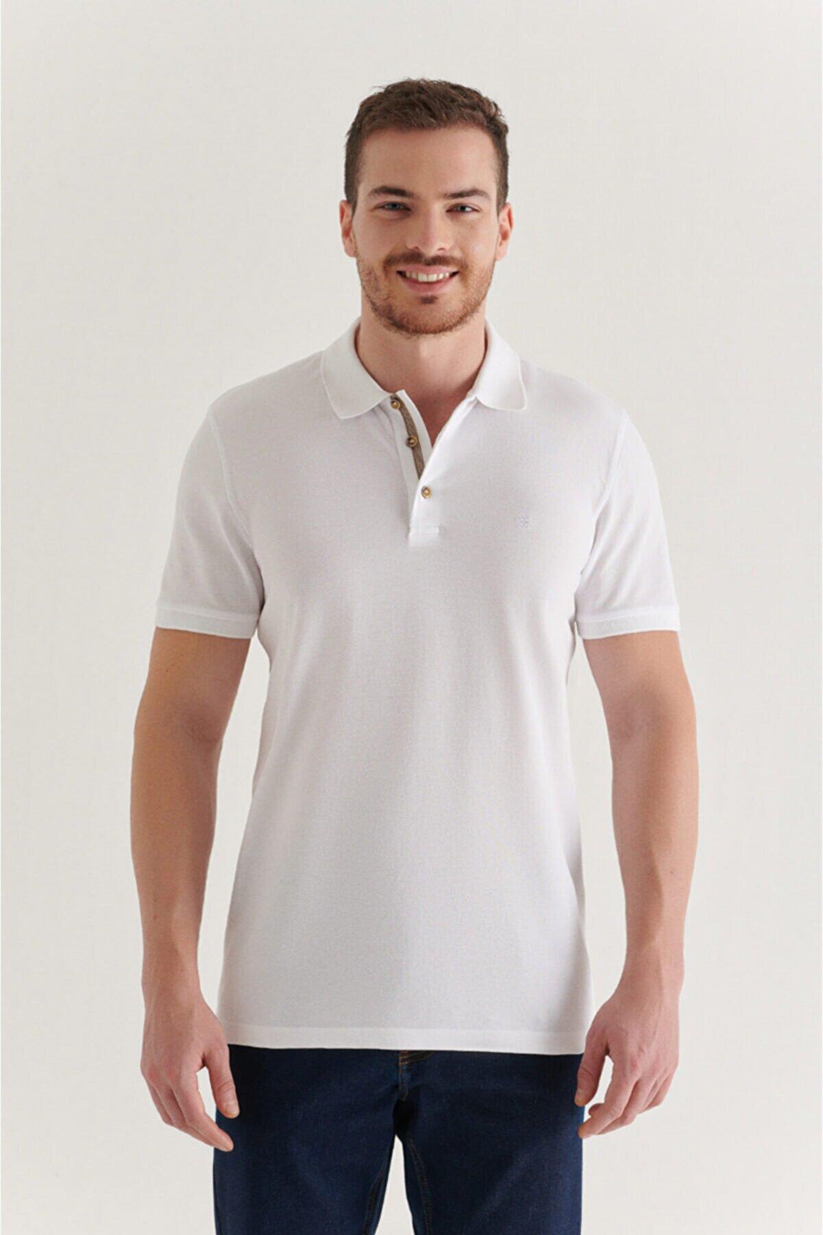 Avva Erkek Beyaz Polo Yaka Düz T-shirt A11b1174