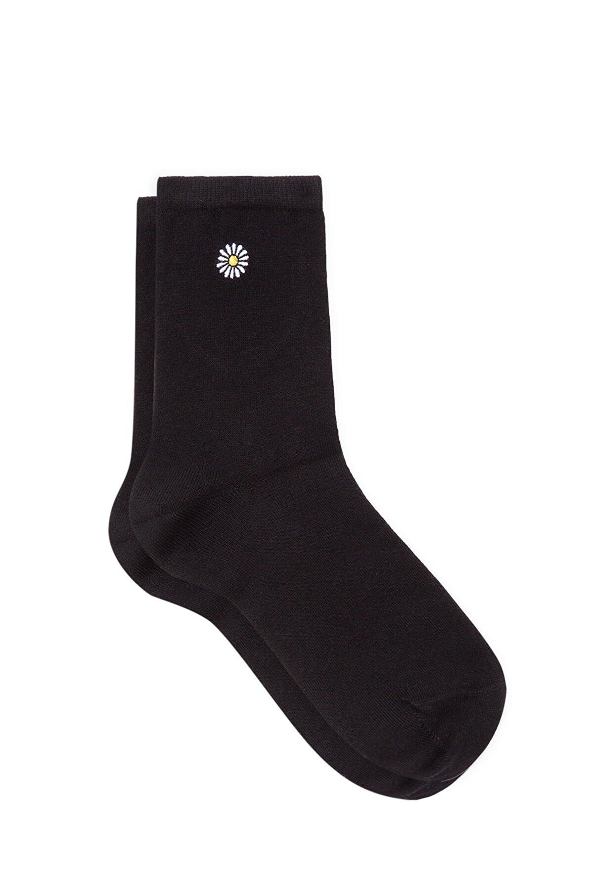 Mavi Kadın Papatya İşlemeli Siyah Soket Çorap 198282-900