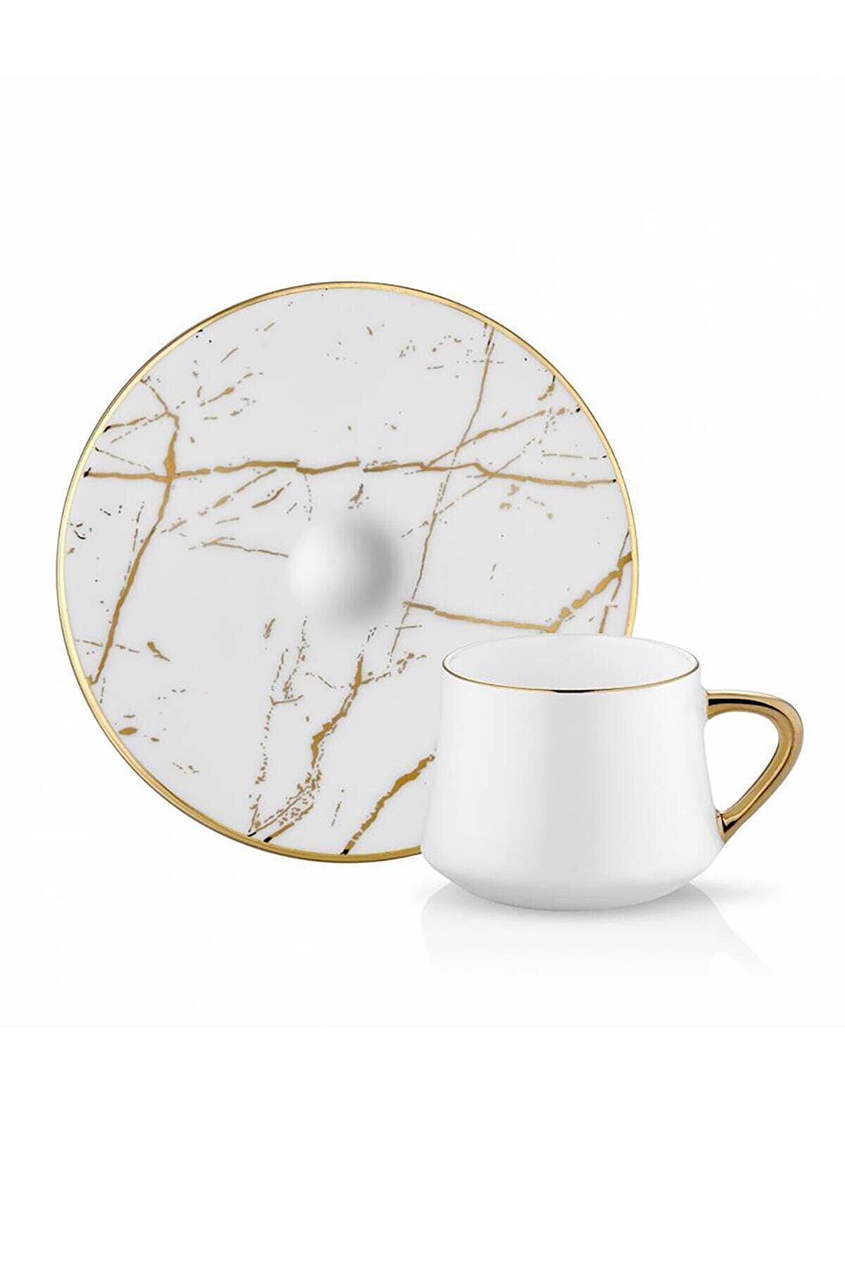 Koleksiyon Ev ve Mobilya Koleksiyon Sufi Türk Kahve Seti 6lı Mermer Beyaz Altın