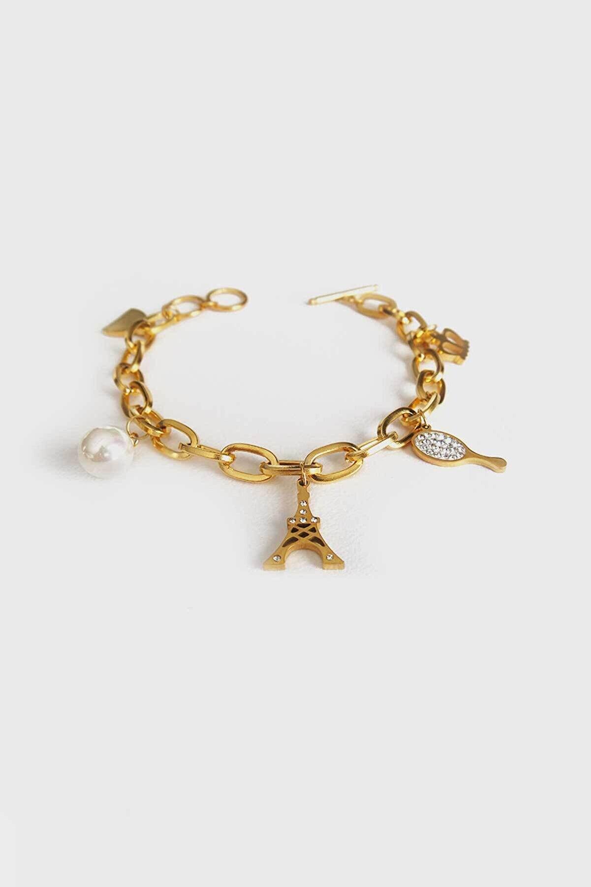 Jewel Çift Zincir Eyfel Gold Altın Kaplama Bileklik