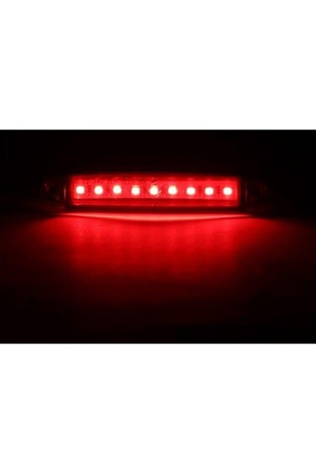 EMIR 10 Adet 9 Ledli Parmak Led Dorse Lamba 12v-24v Kırmızı Renk
