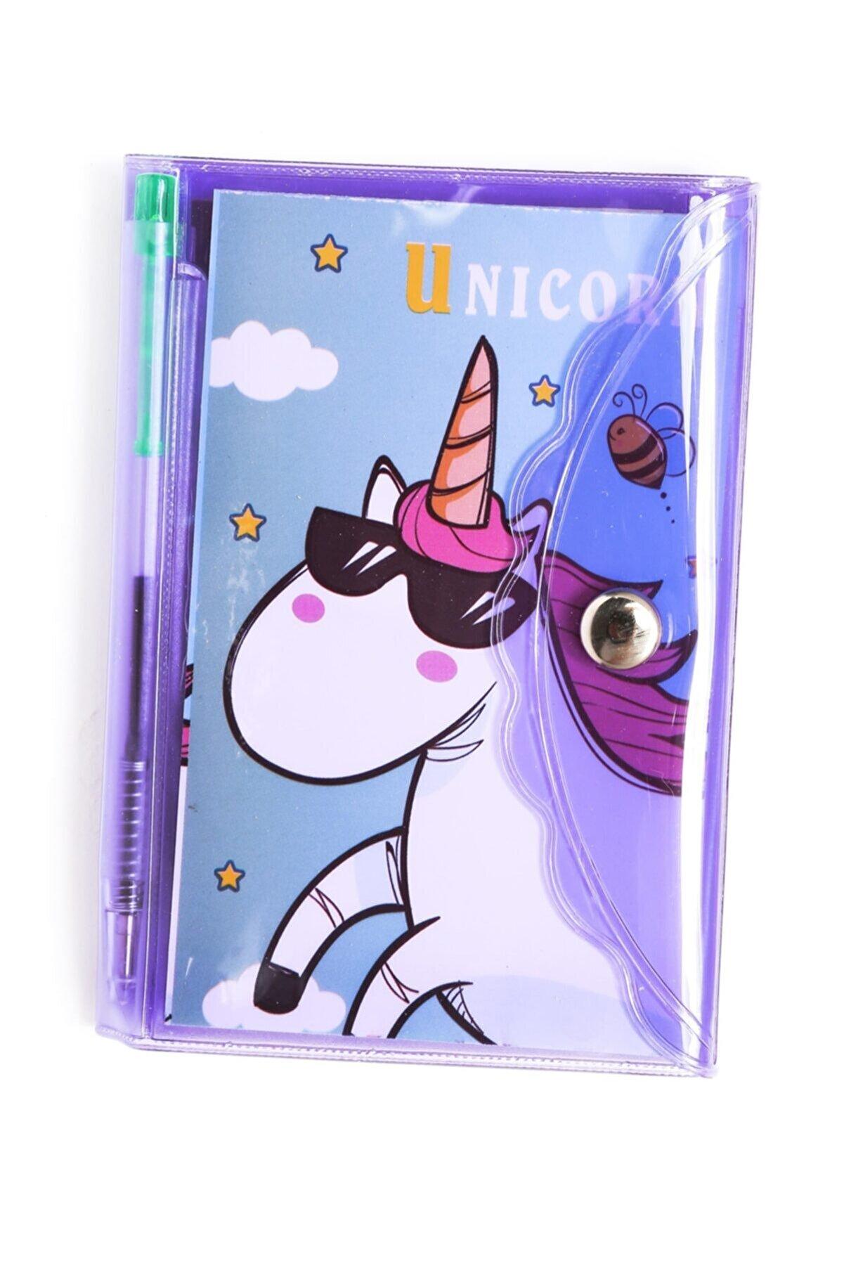 VUKİ Mor Unicorn Bölmeli Mini Kalemli Defter Seti