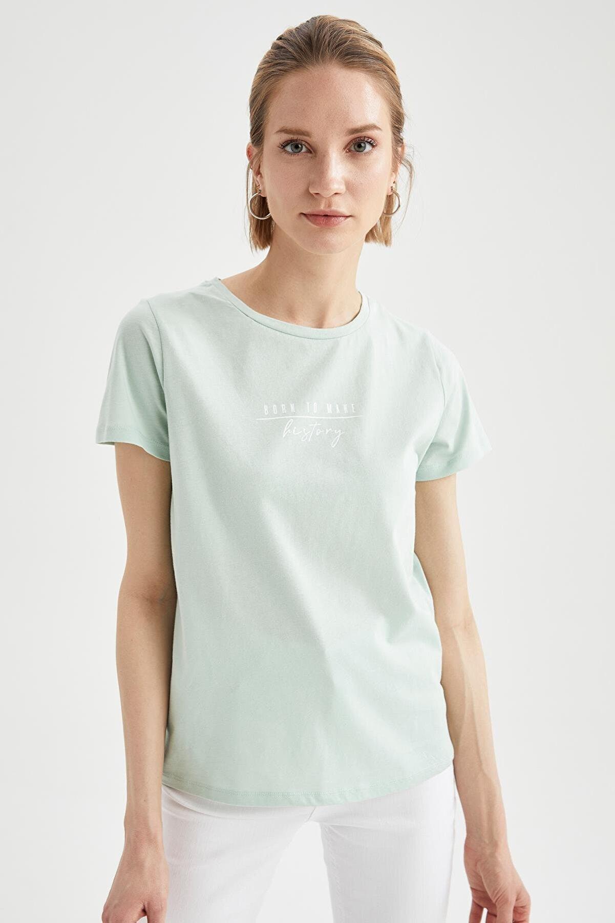 Defacto Kadın Turkuaz Slogan Baskılı Relax Fit Kısa Kollu Tişört
