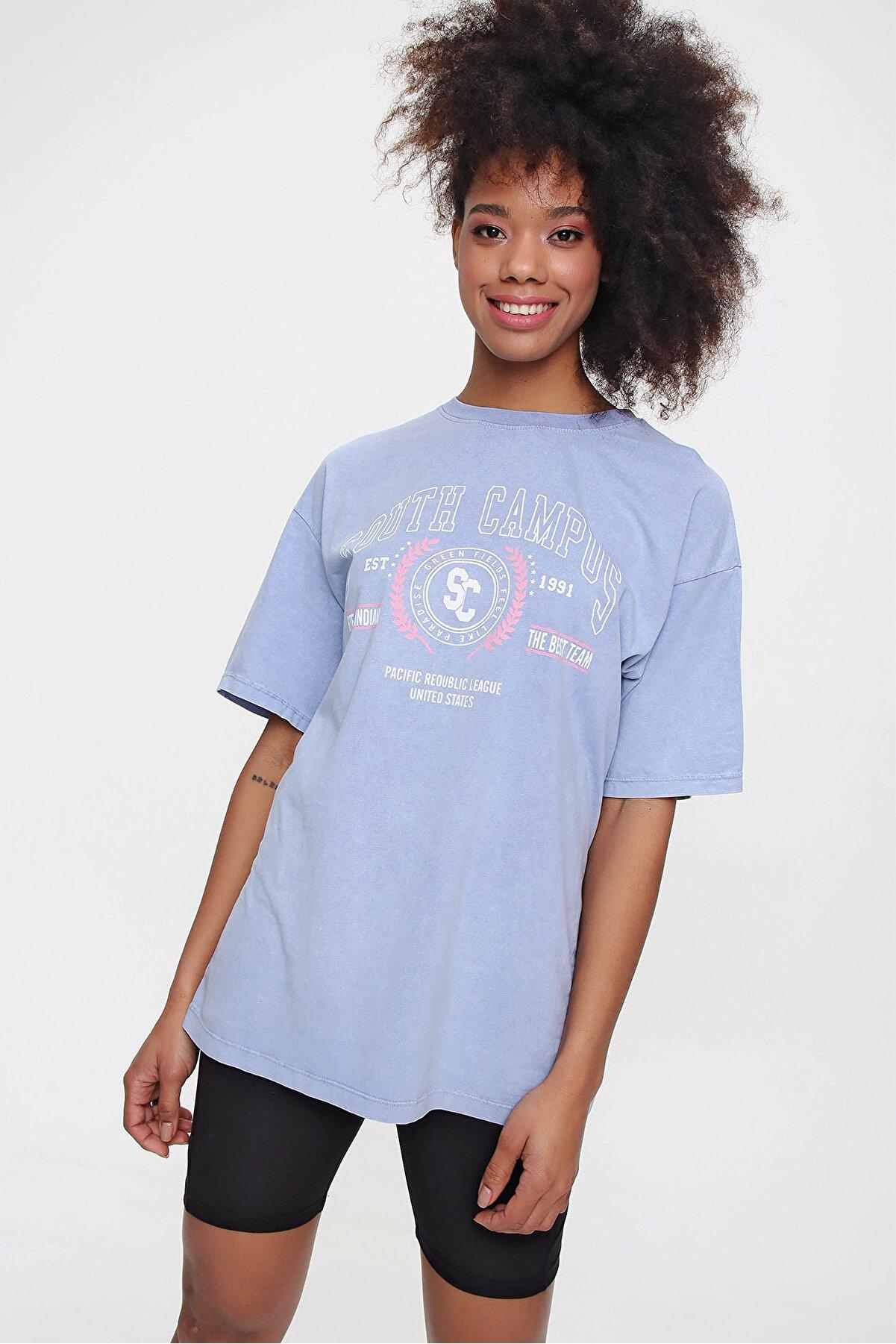 Ecrou Kadın Lila Oversize Tshirt