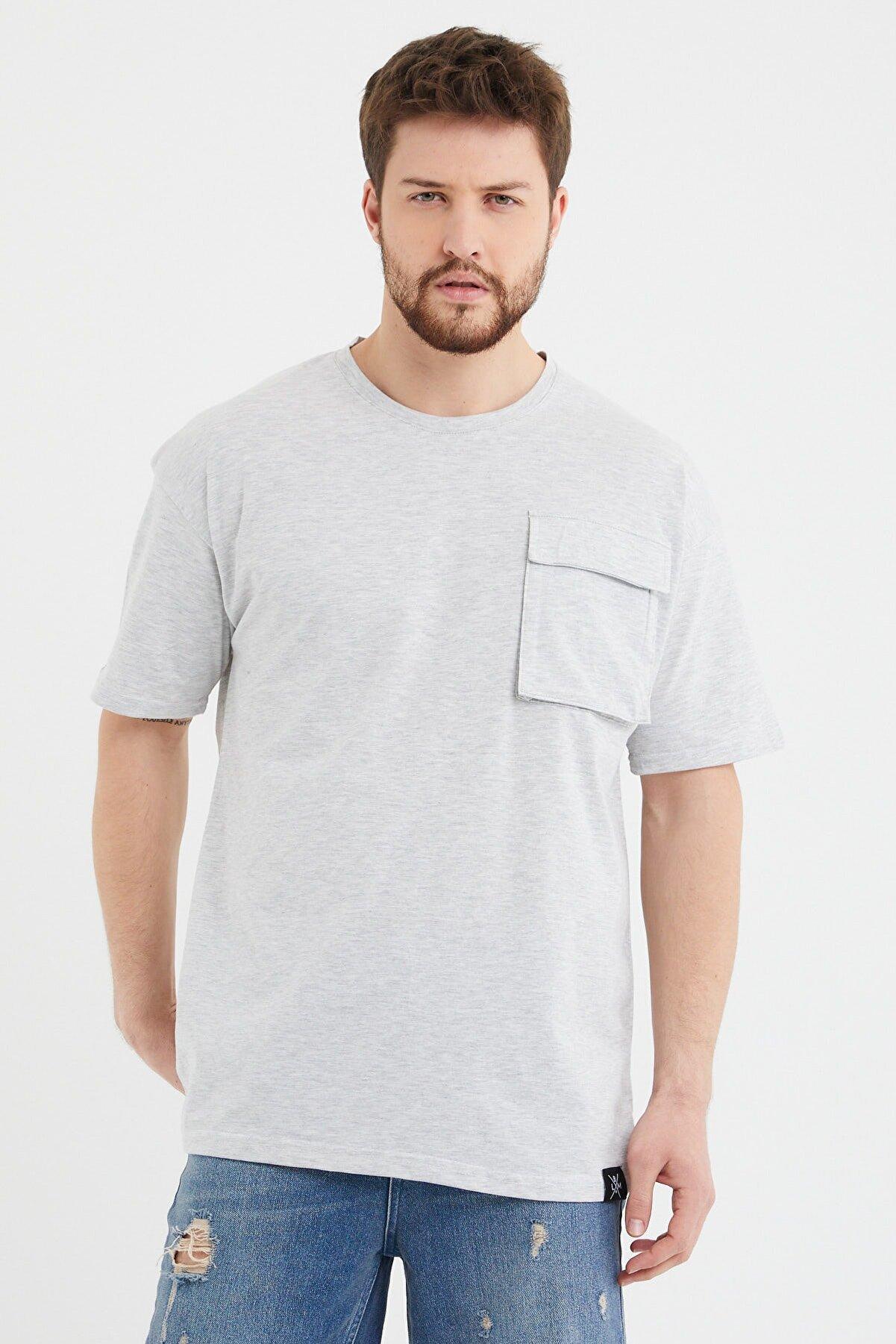 Cocers Erkek Gri Oversize Körük Cepli T-shirt