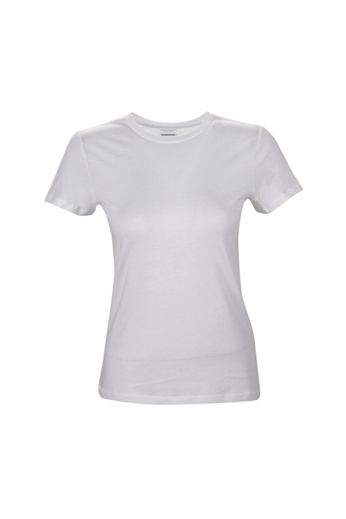 Lumberjack CT131 BASIC MODAL C NECK Beyaz Kadın T-Shirt 100581839