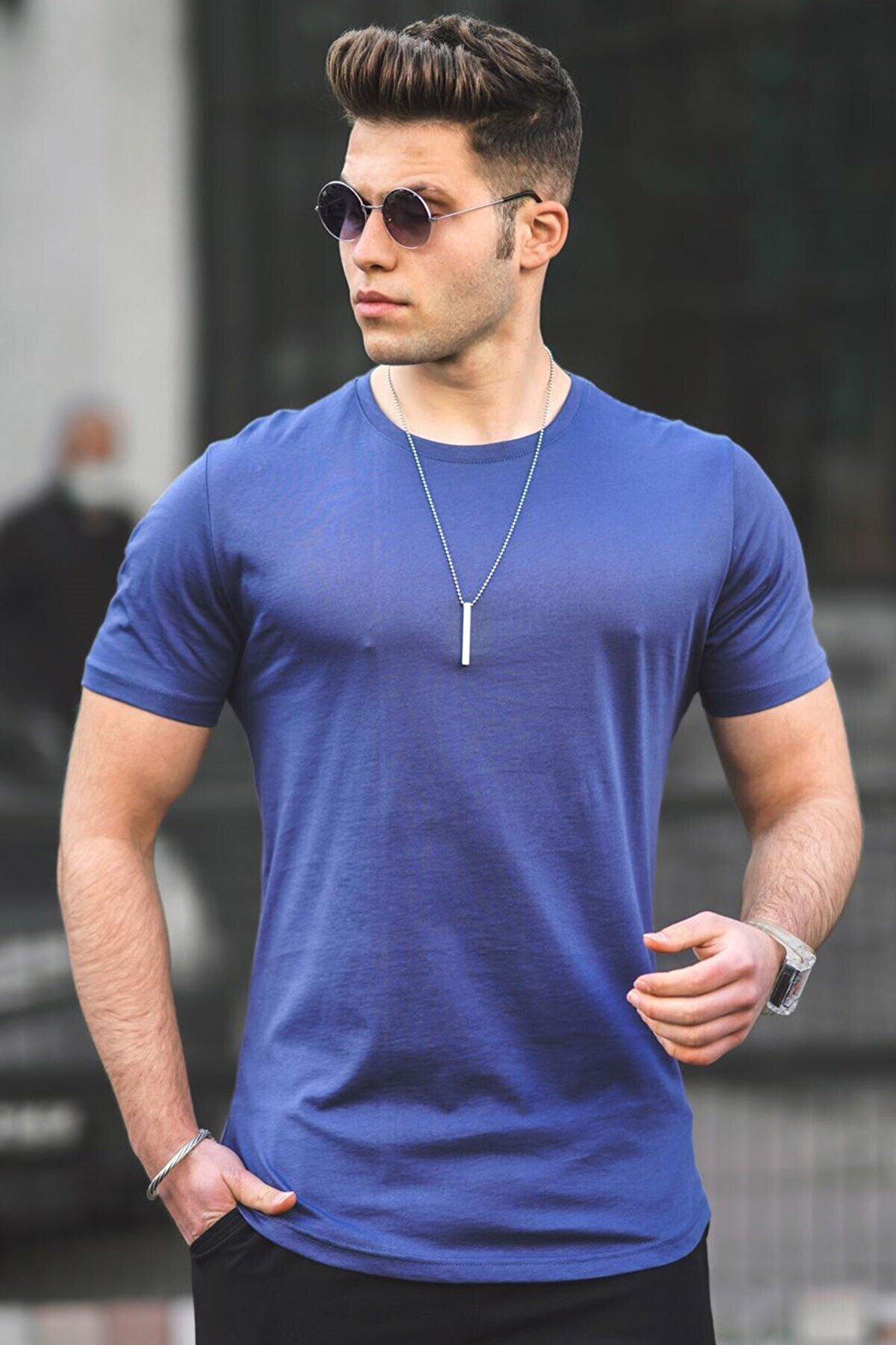 Madmext Erkek Lacivert Düz T-Shirt 4951