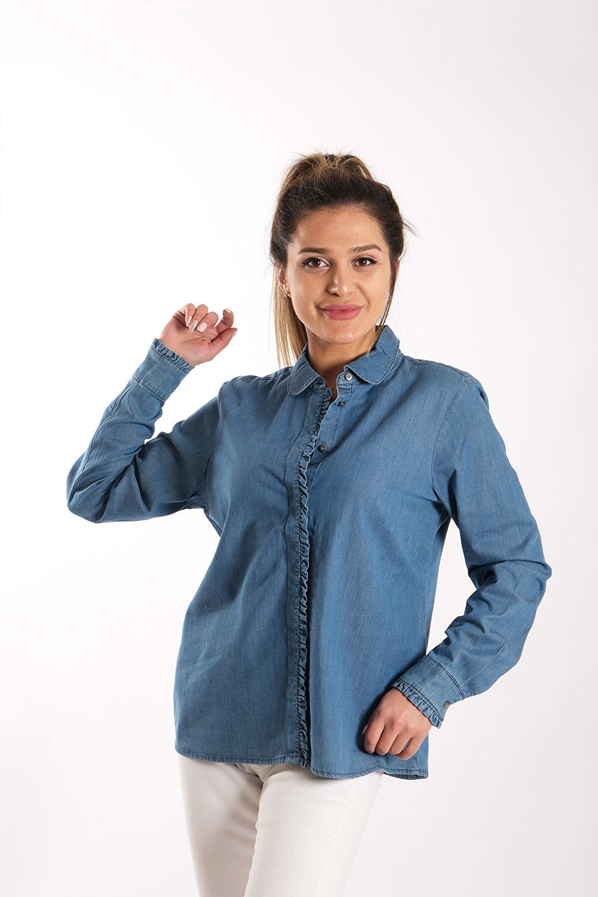 Blues Outlet Kadın Önü Fırfırlı Kot Gömlek