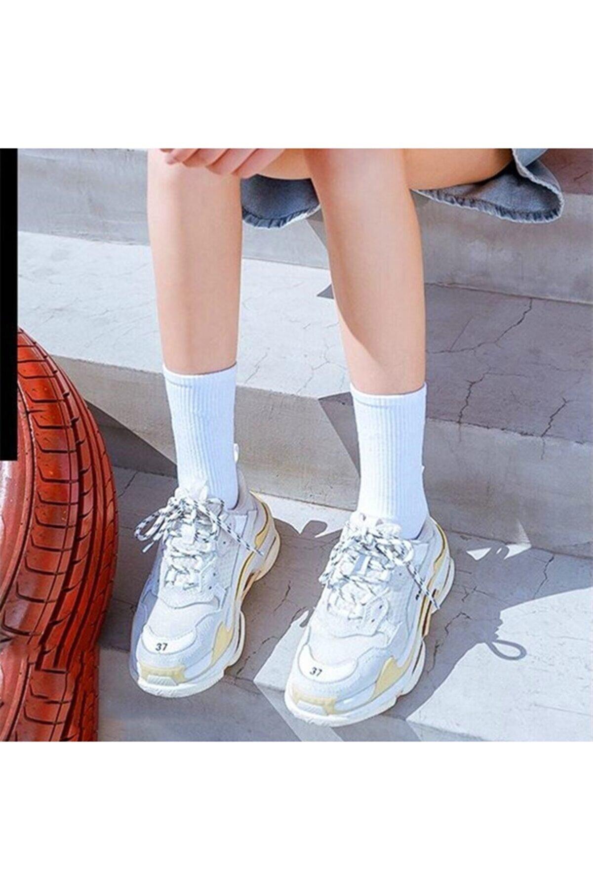 çorapmanya Çizgisiz Pamuklu Kolej Tenis Beyaz Çorap 6' Lı