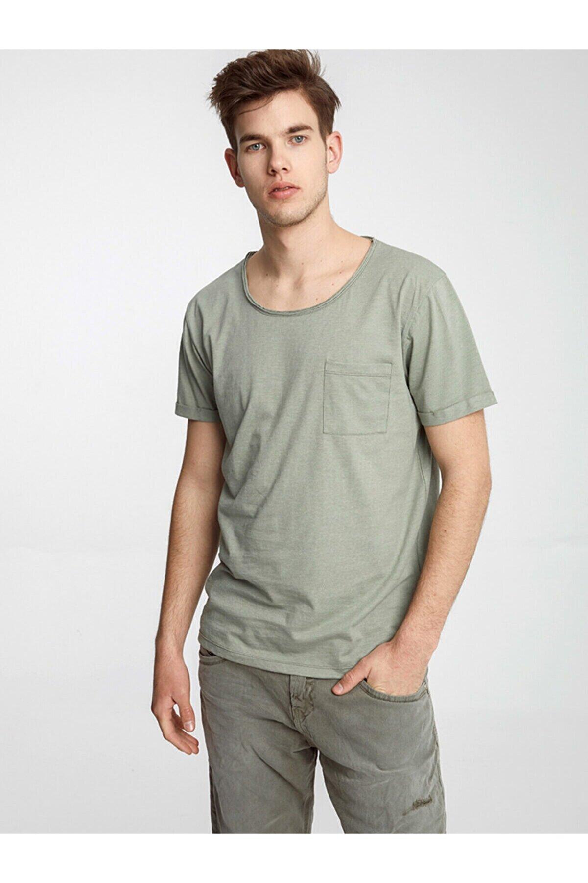 Ltb Erkek  Yeşil  Kısa Kol Geniş Yaka T-Shirt 0121984506607930000
