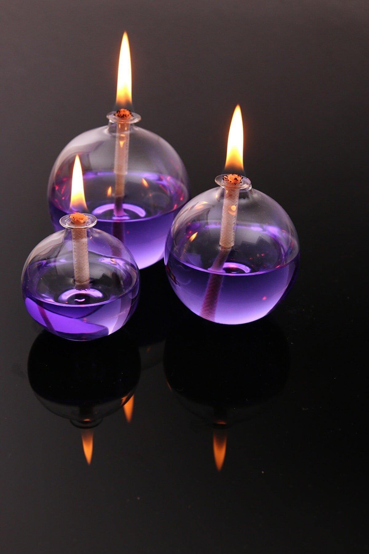 Vetroce Küre Cam Kandil 3'lü Set ve  Kandil Yağı