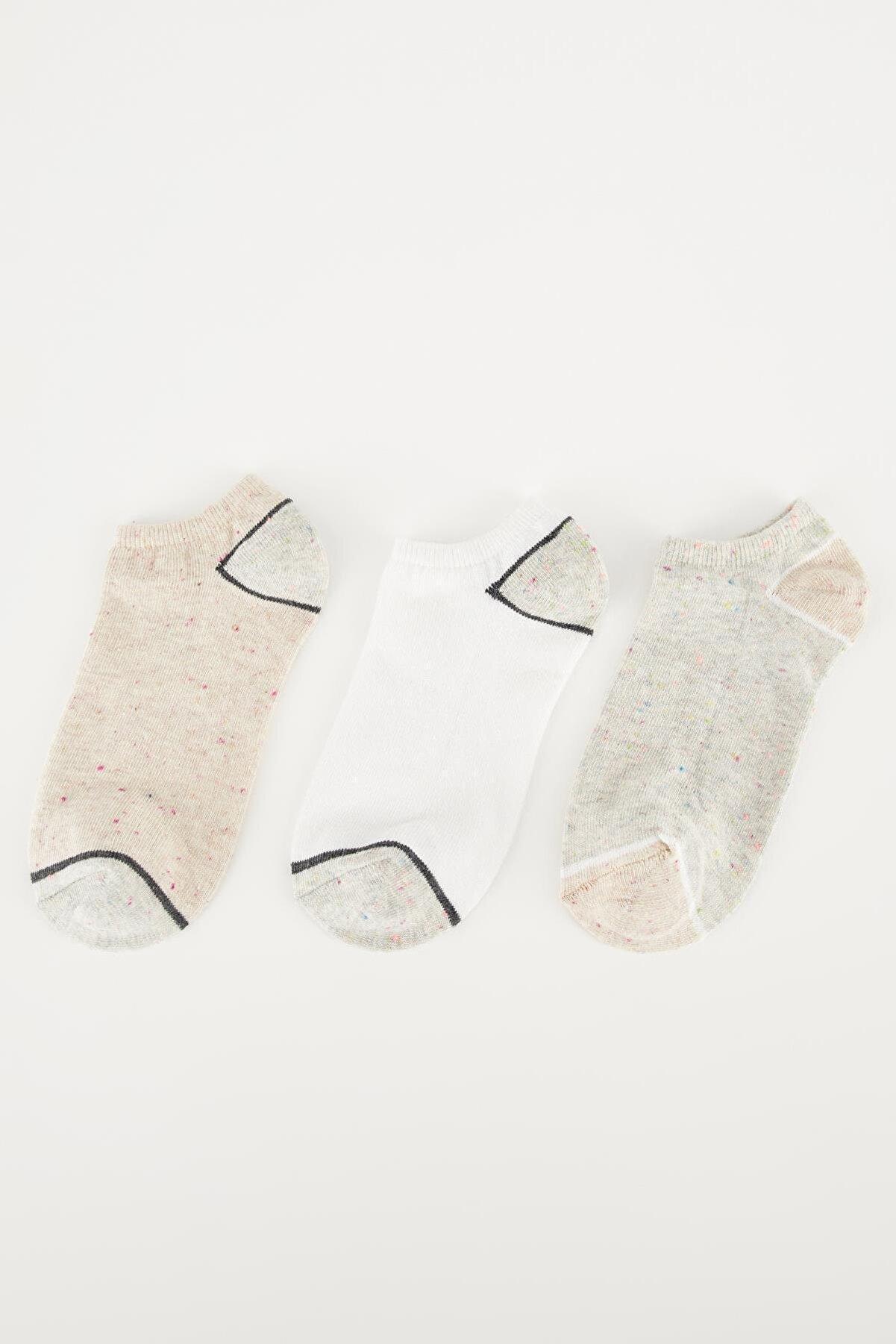 Defacto Kadın Çok Renkli Patik Çorap 3'Lü T7384AZ21SPKR