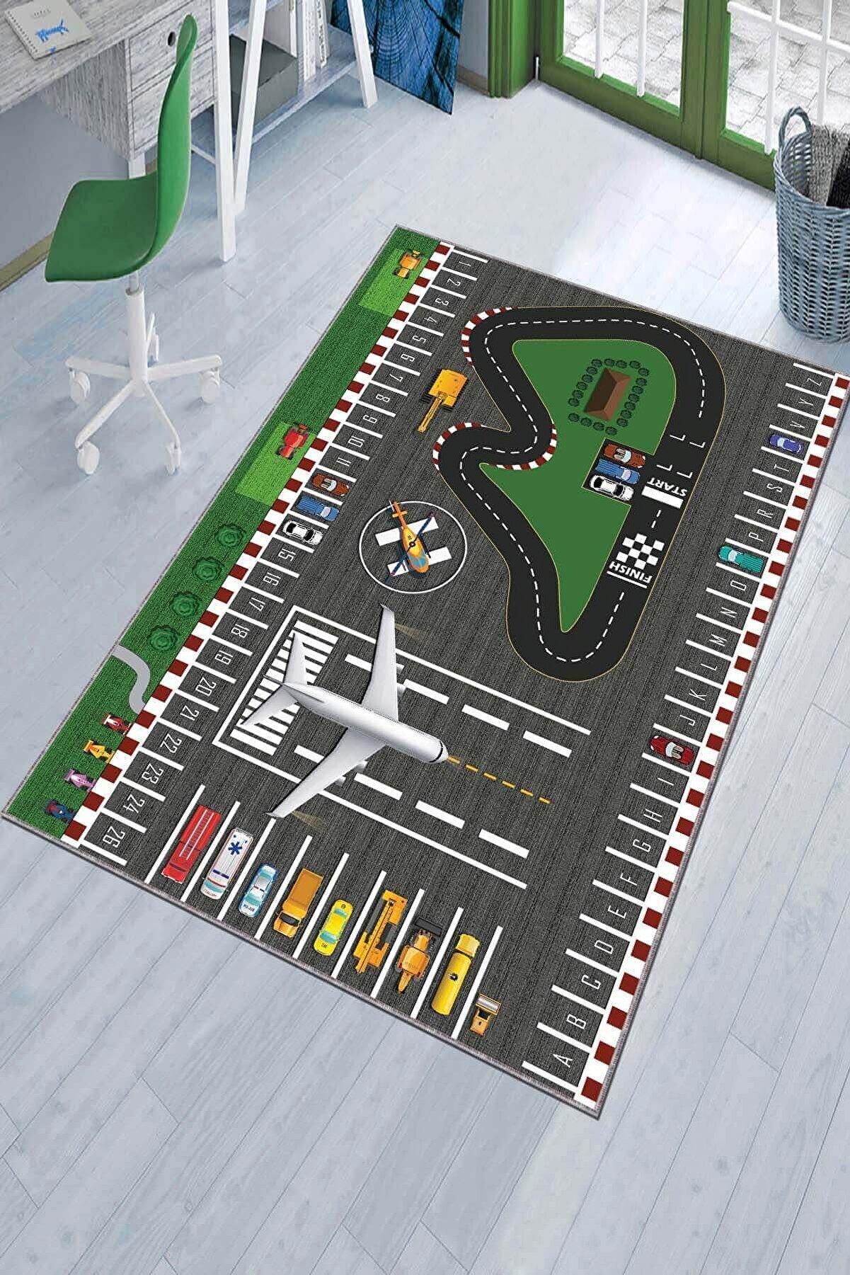 Viva Home Kaymaz Taban Makinede Yıkanır Çocuk Halısı Airport Ar294
