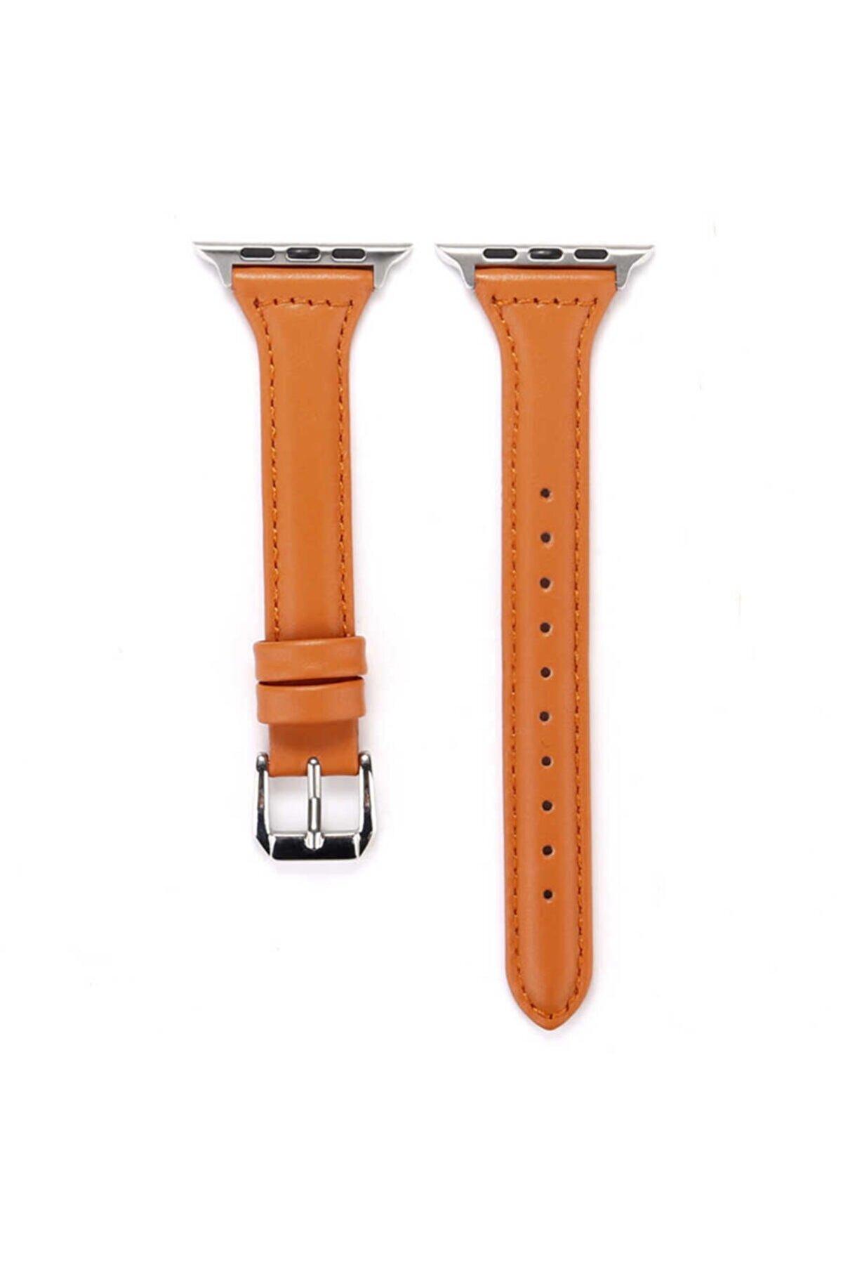 Apple Watch 6 Kordon Ince Zarif Deri Tasarımlı 40mm Krd-28