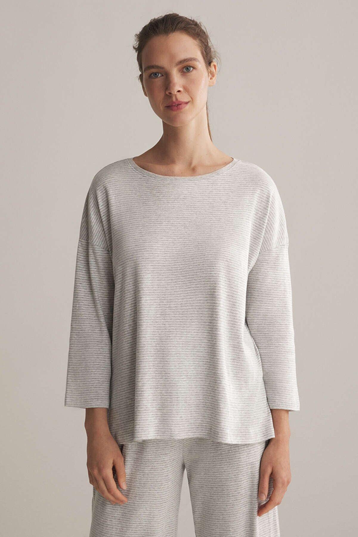 Oysho Kadın Gri Ince Çizgili Pamuklu Tişört