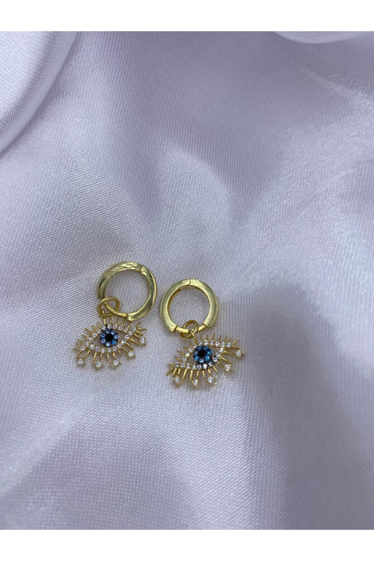 Amon Jewelry 925 Ayar Gümüş Kirpikli Göz Uçlu Küpe Tekli