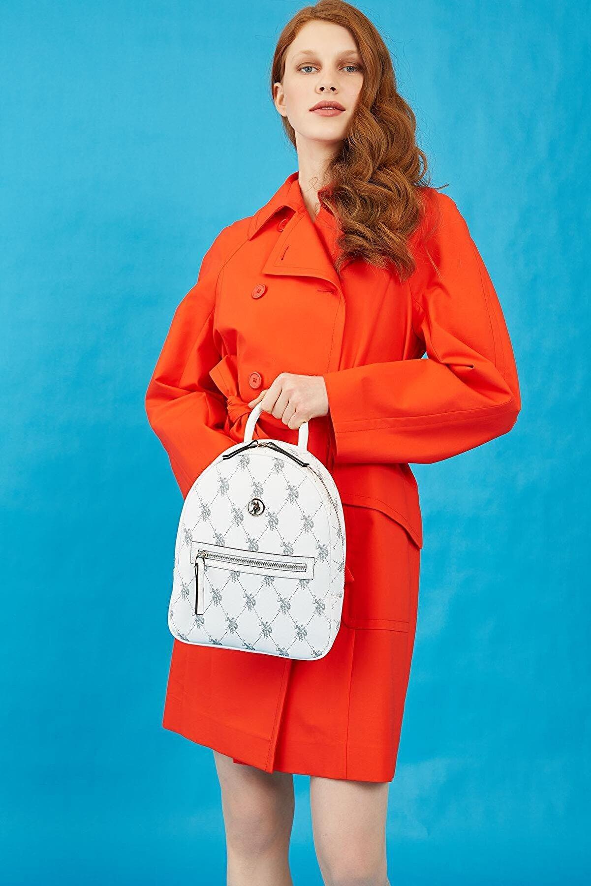 US Polo Assn Kadın  Beyaz Sırt Çantası
