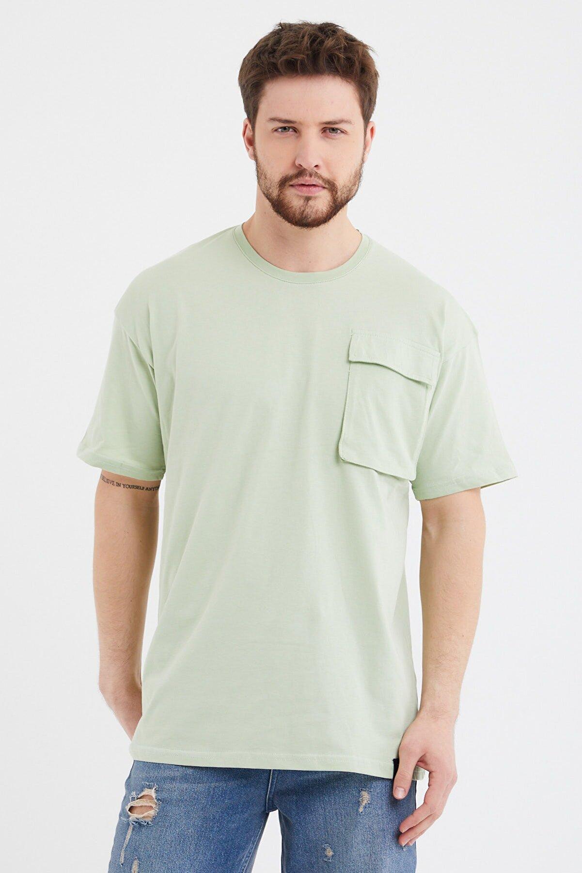 Cocers Erkek Mint Oversize Körük Cepli T-shirt