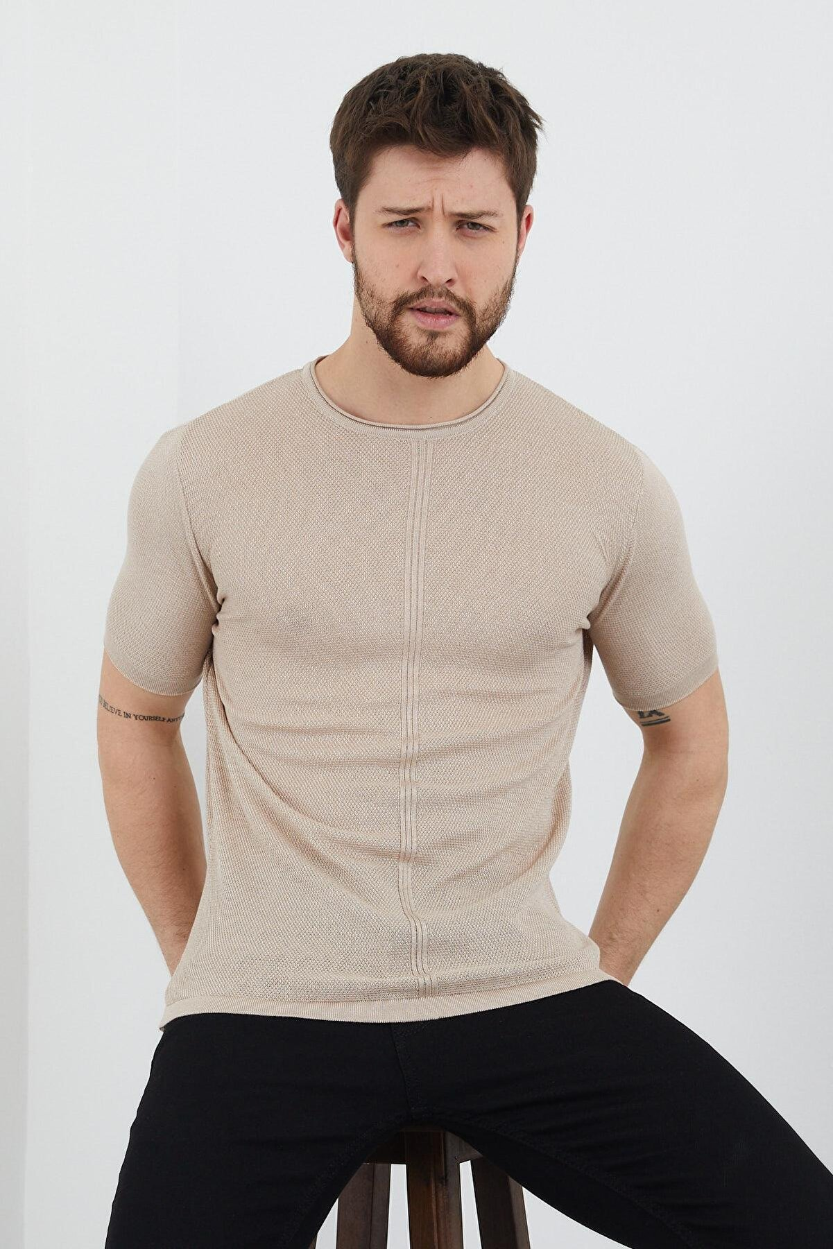 Enuygunenmoda Erkek Slim Fit Pamuklu T-shirt Bej