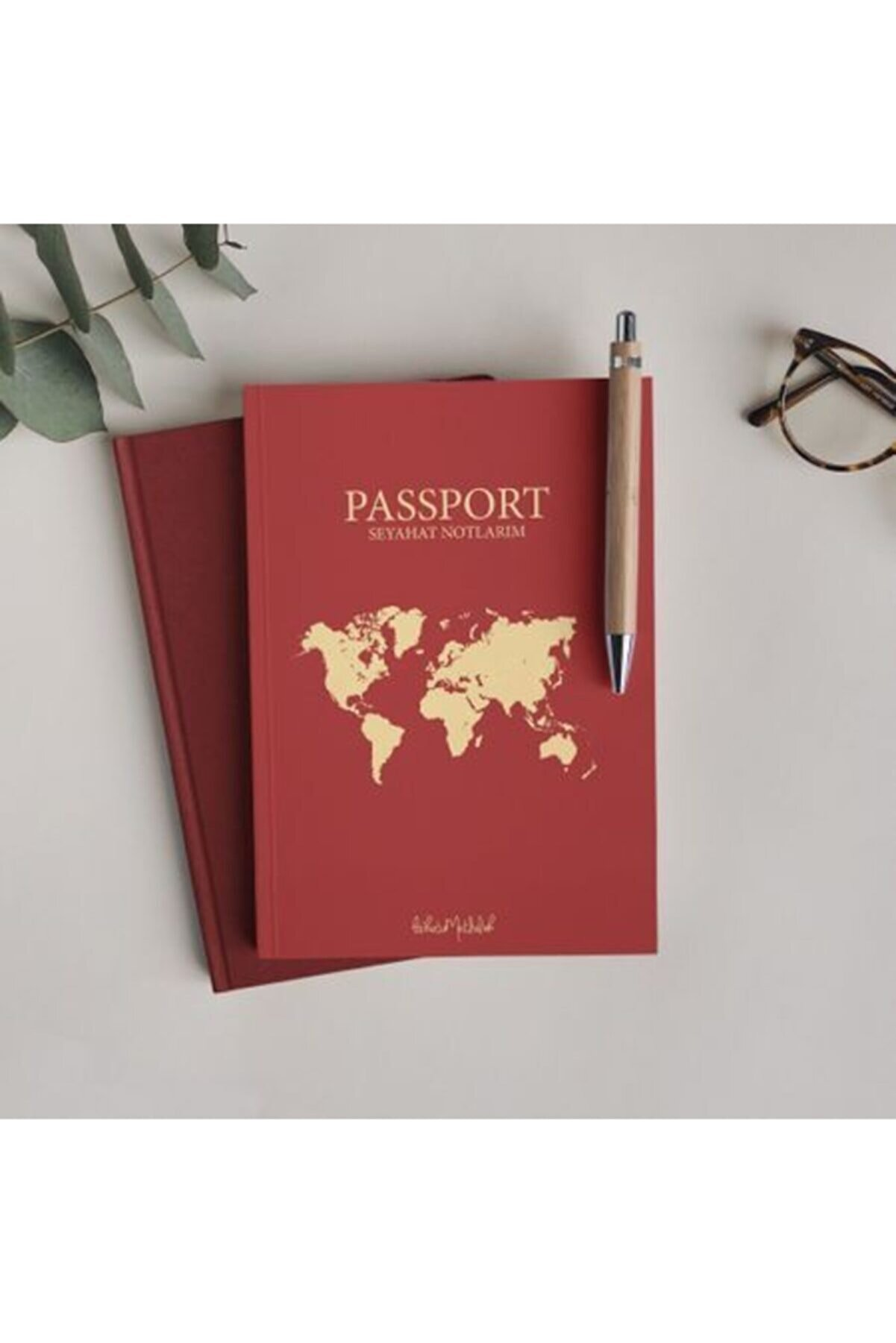 Bikutumutluluk Çizgisiz Defter Serisi - N063 Bordo Pasaport Defter