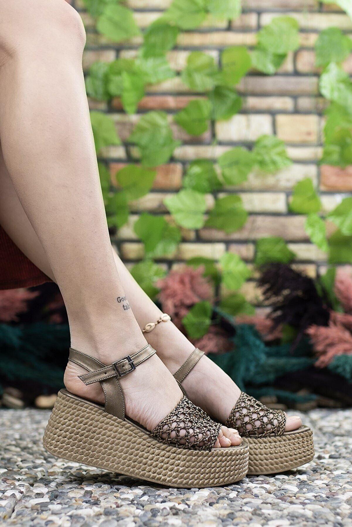 Riccon Kadın Bakır Yüksek Topuklu Sandalet 0012250