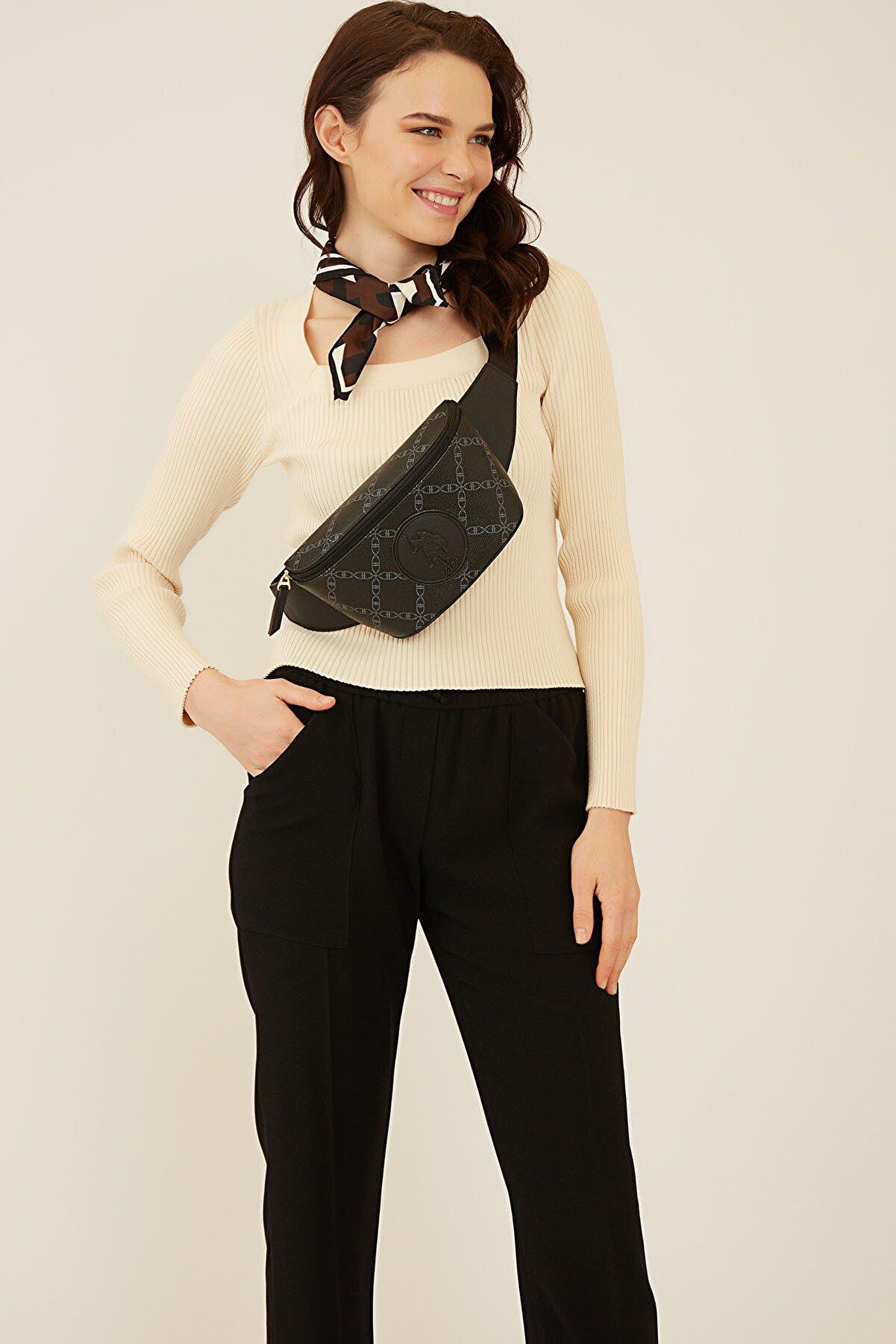 US Polo Assn Siyah Kadın Bel Çantası Us8113