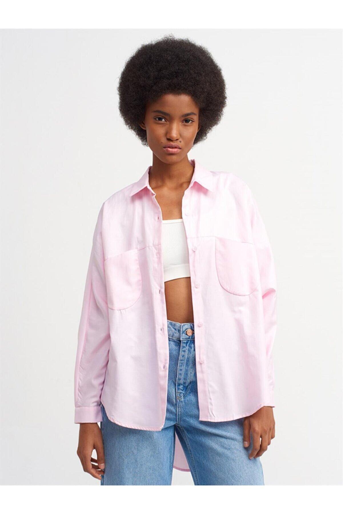 Dilvin Kadın Oversize Gömlek - Açık Pembe