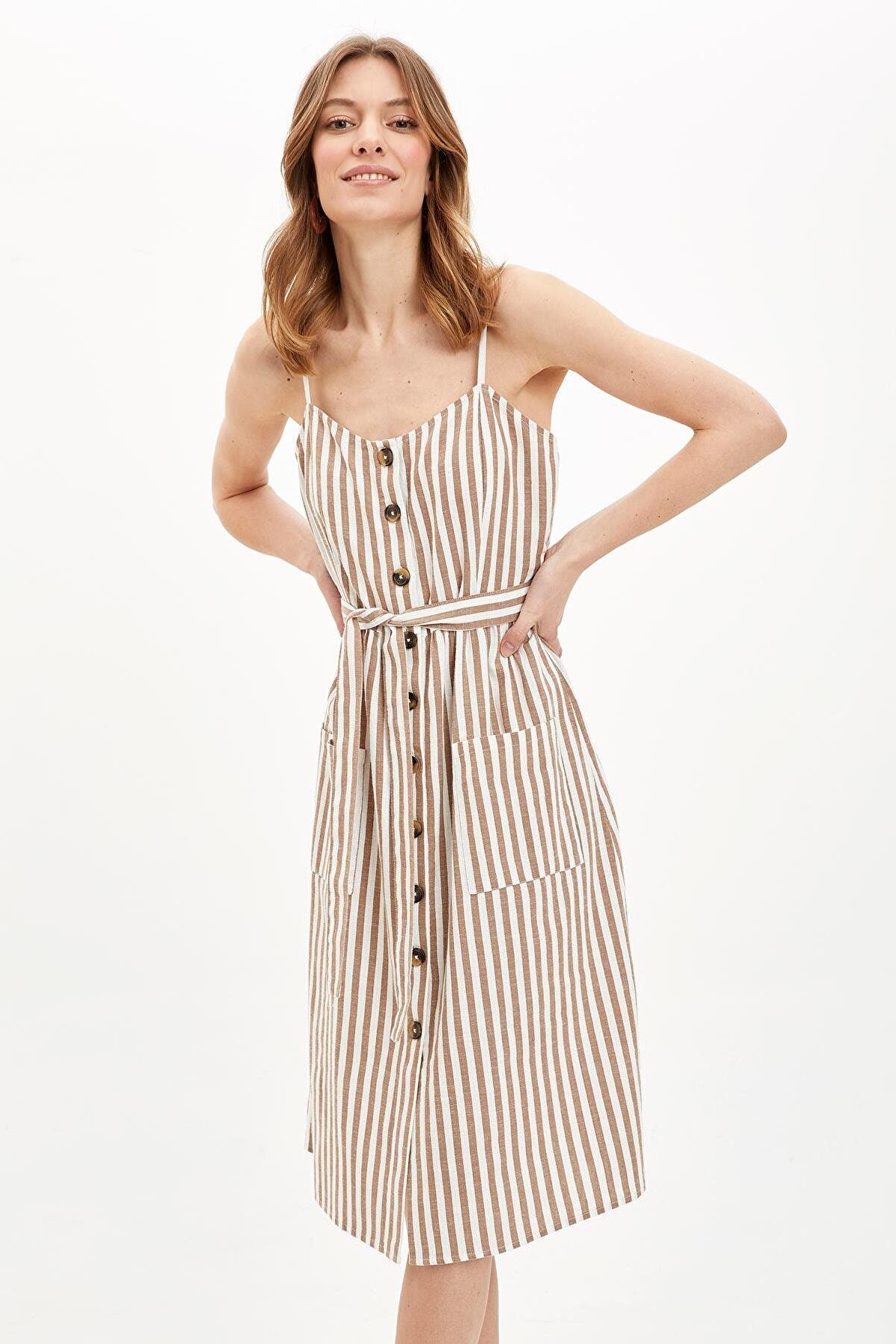 Defacto Kadın Kahverengi Askılı Çizgi Detaylı Kuşaklı Dokuma Elbise M8975AZ20SM